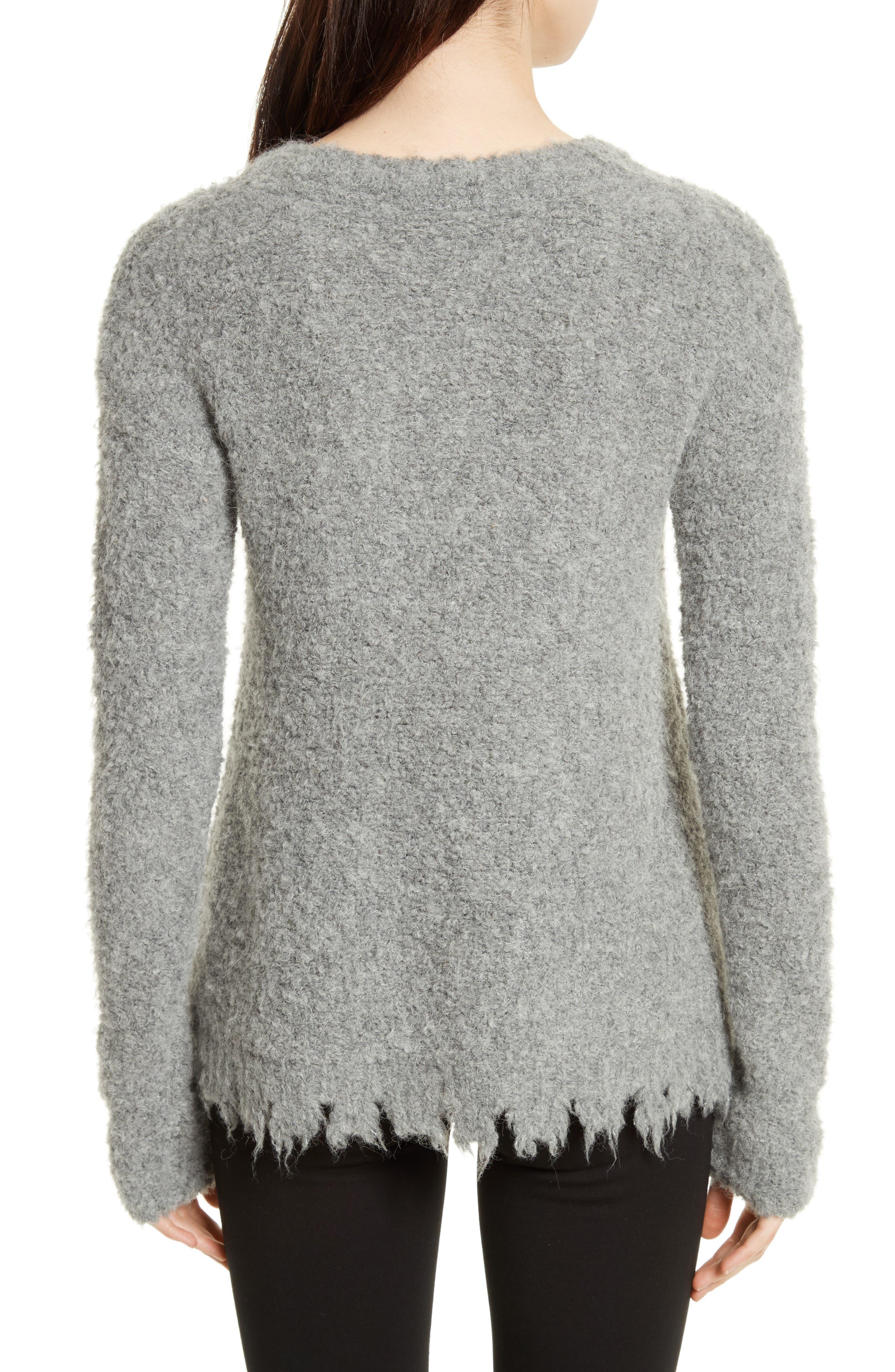 Destroyed Hem Sweater,                             Alternate thumbnail 2, color,                             Heather Grey