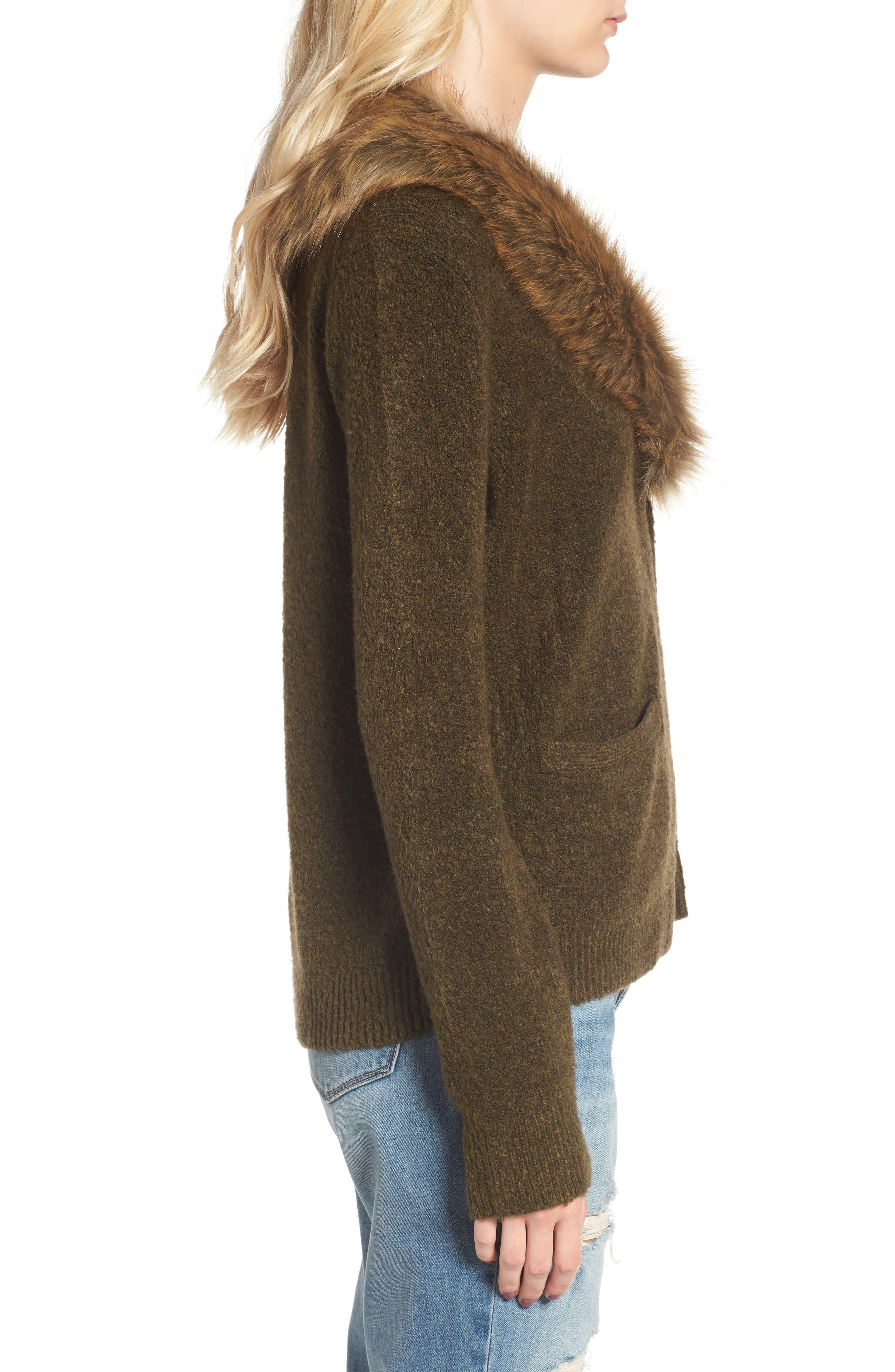 Faux Fur Collar Cardigan,                             Alternate thumbnail 3, color,                             Olive Tree Rainbow Multi
