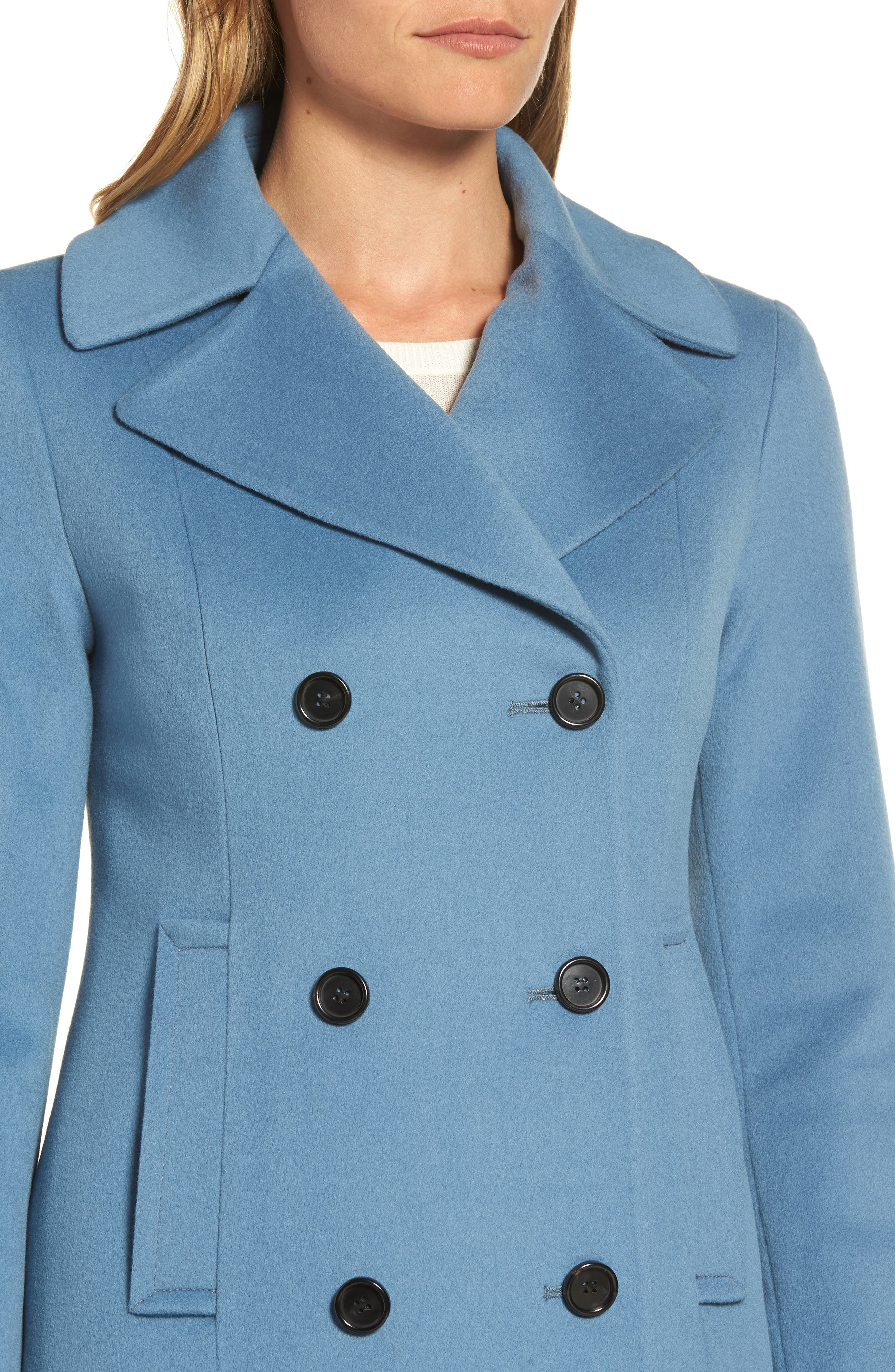 Double Breasted Loro Piana Wool Coat,                             Alternate thumbnail 4, color,                             Cornflower