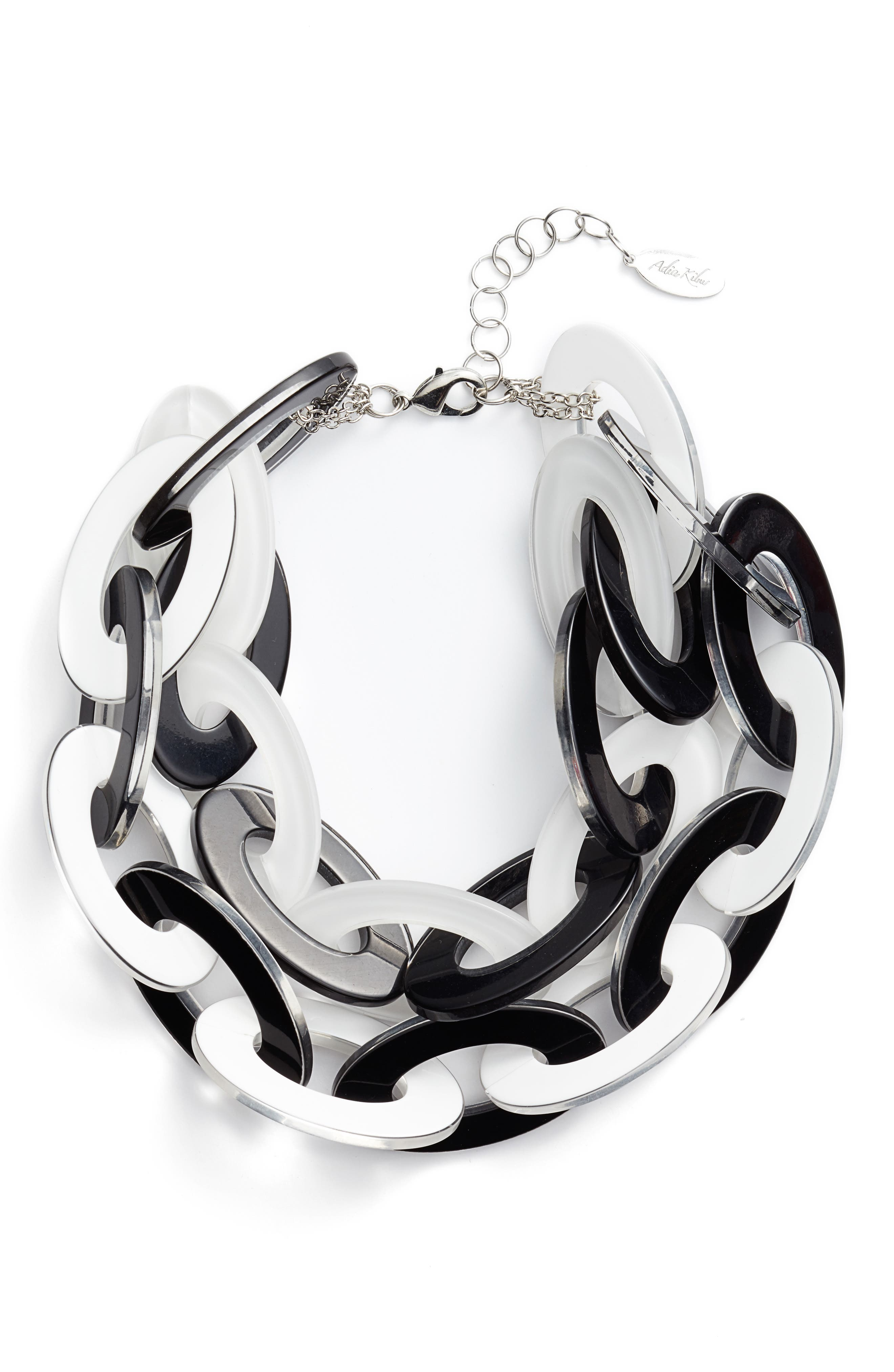 Resin Link Necklace,                         Main,                         color, Black/ White