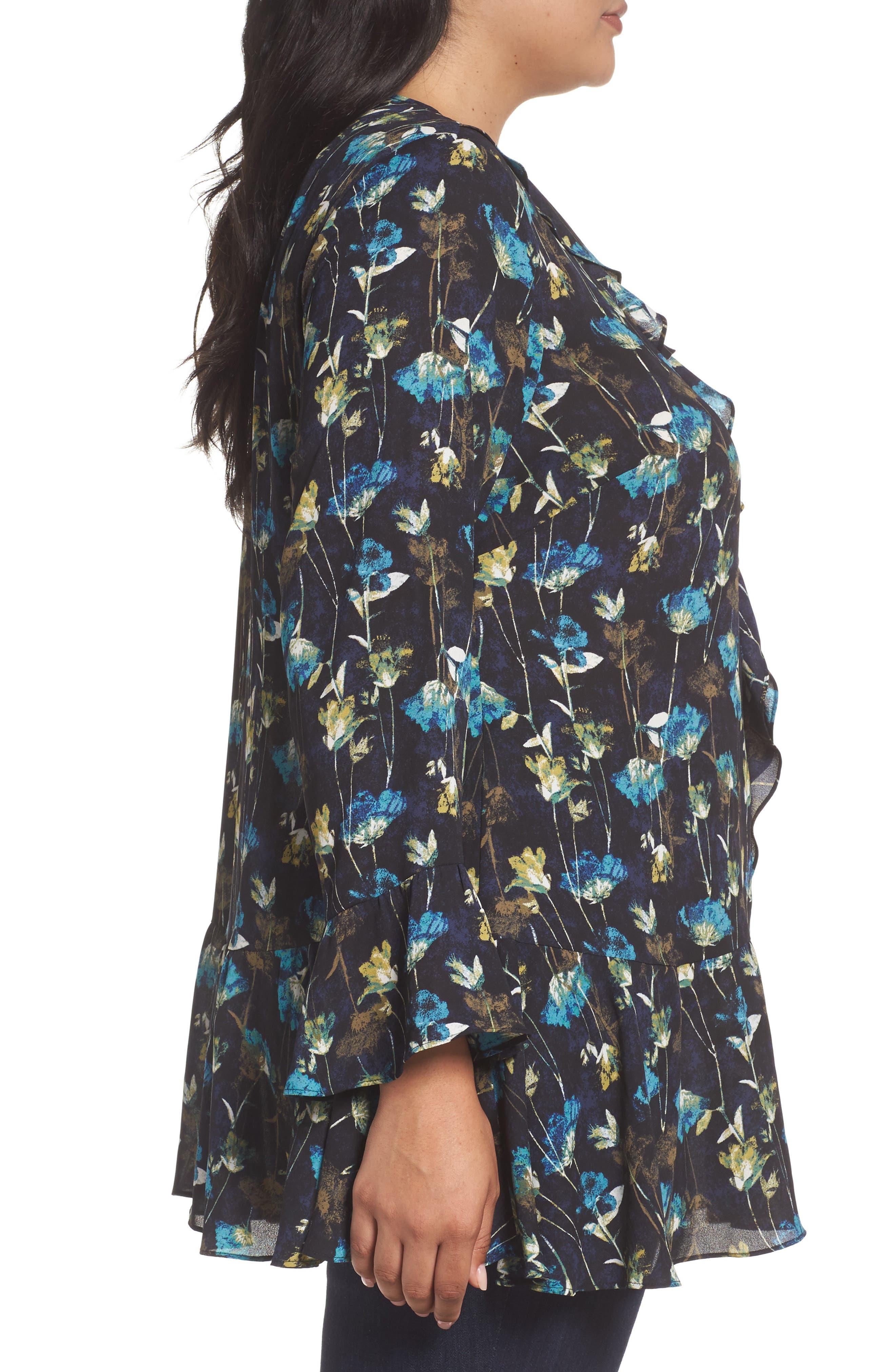 Alternate Image 4  - Sejour Ruffle V-Neck Tunic (Plus Size)