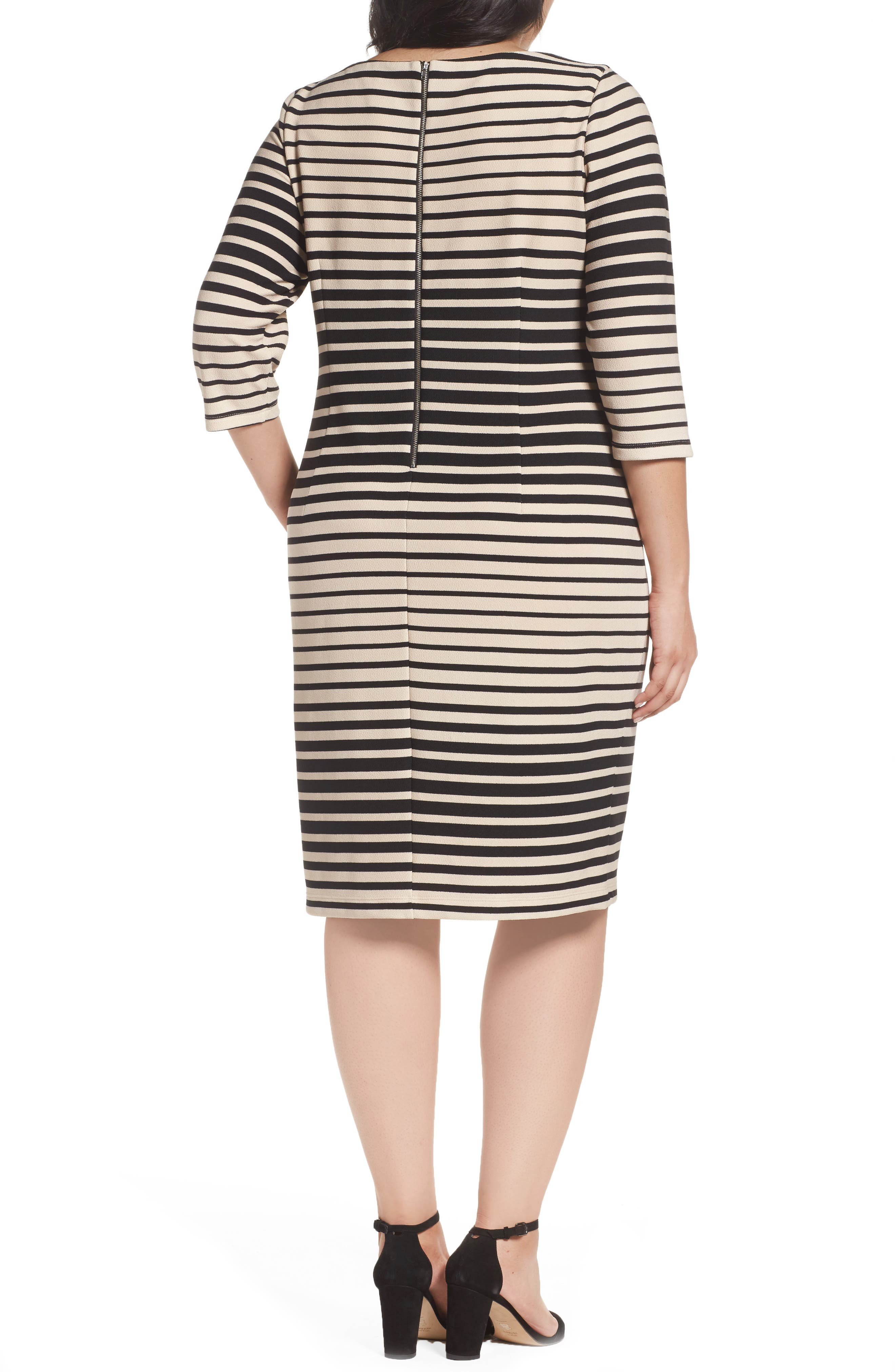 Alternate Image 2  - Gabby Skye Stripe Knit Sheath Dress (Plus Size)