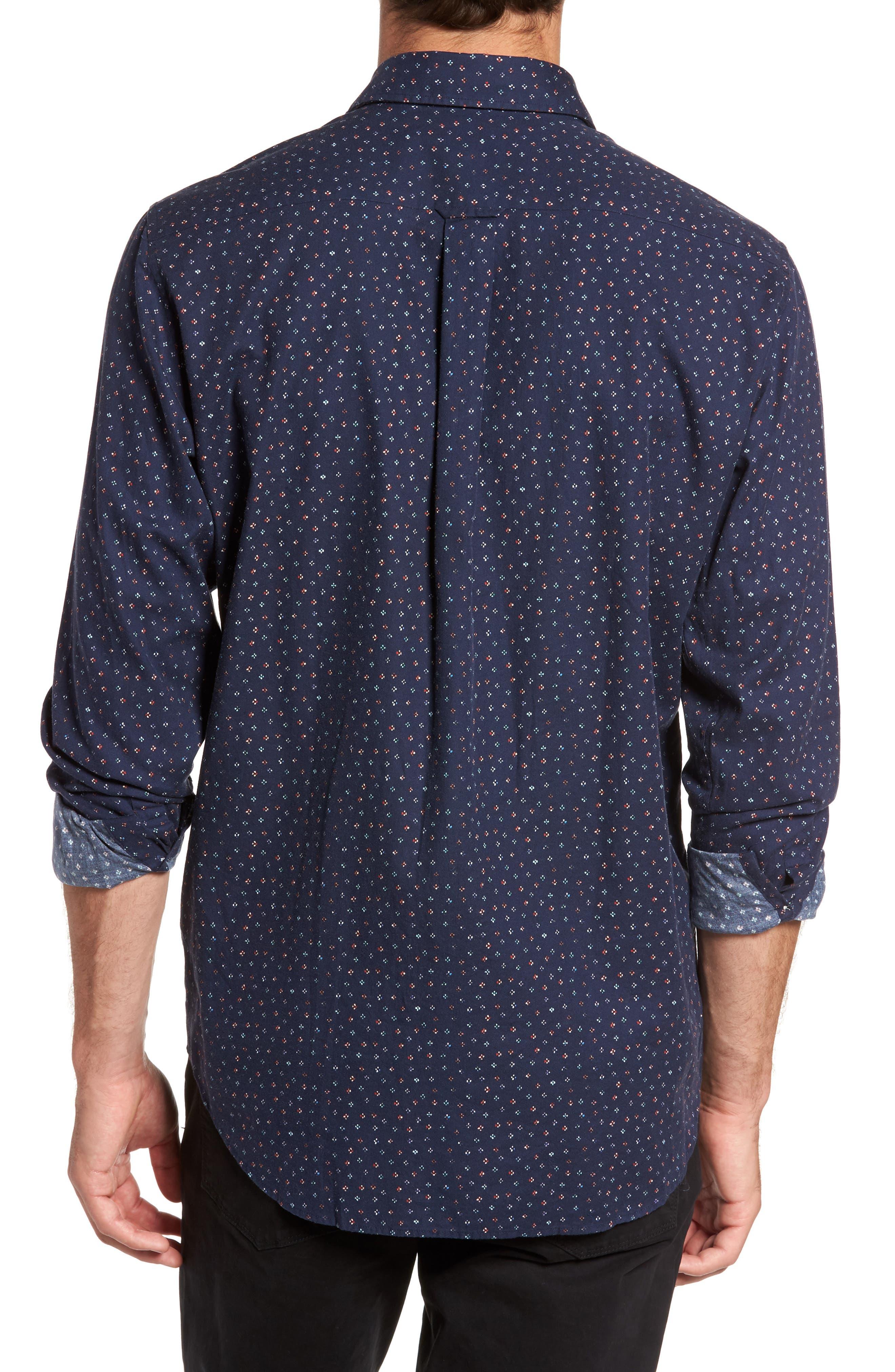 Regular Fit Floral Print Sport Shirt,                             Alternate thumbnail 2, color,                             Evening Blue