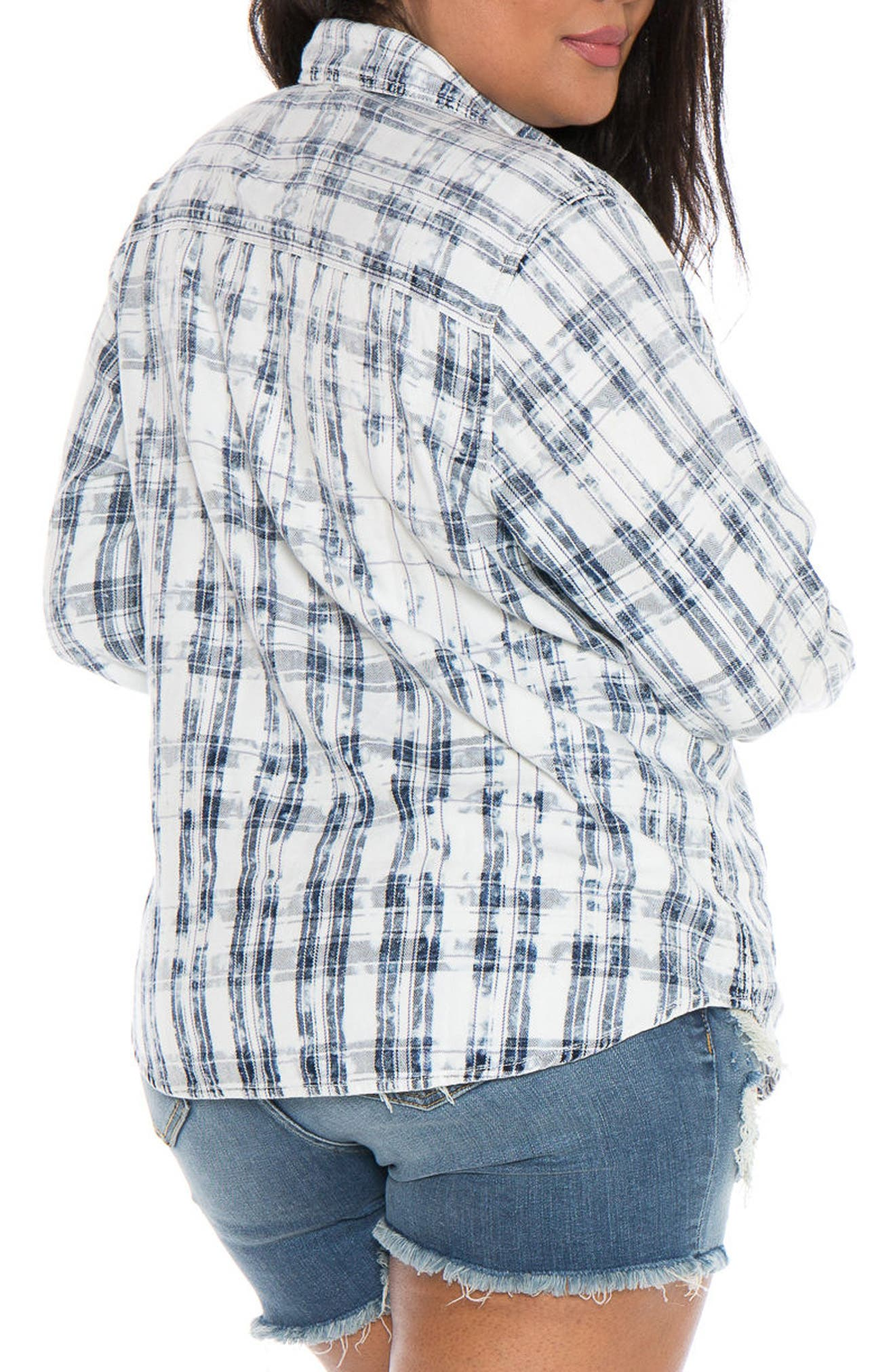 Plaid Western Shirt,                             Alternate thumbnail 2, color,                             White/ Blue