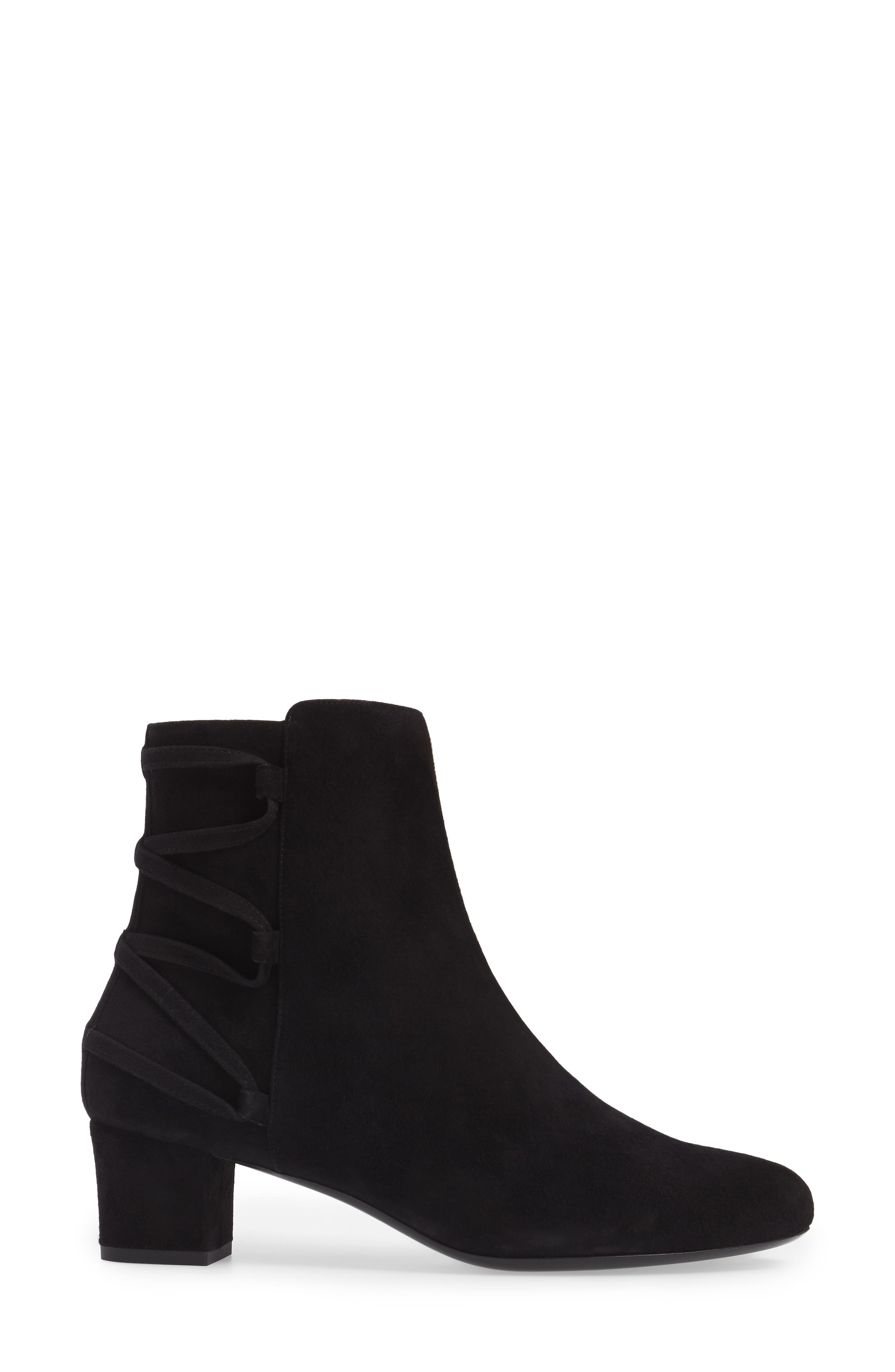 Lace-Up Bootie,                             Alternate thumbnail 3, color,                             Black