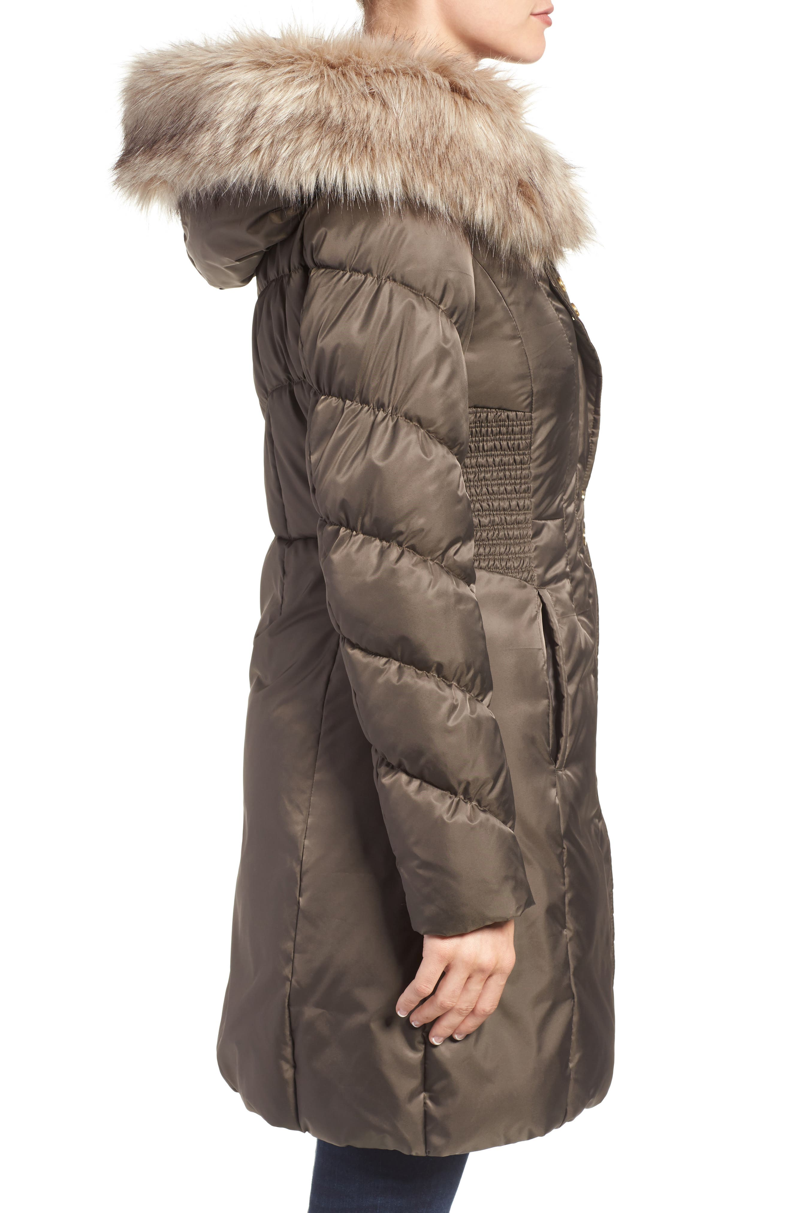 Alternate Image 3  - Via Spiga Water Repellent Quilted Puffer Coat with Faux Fur Trim