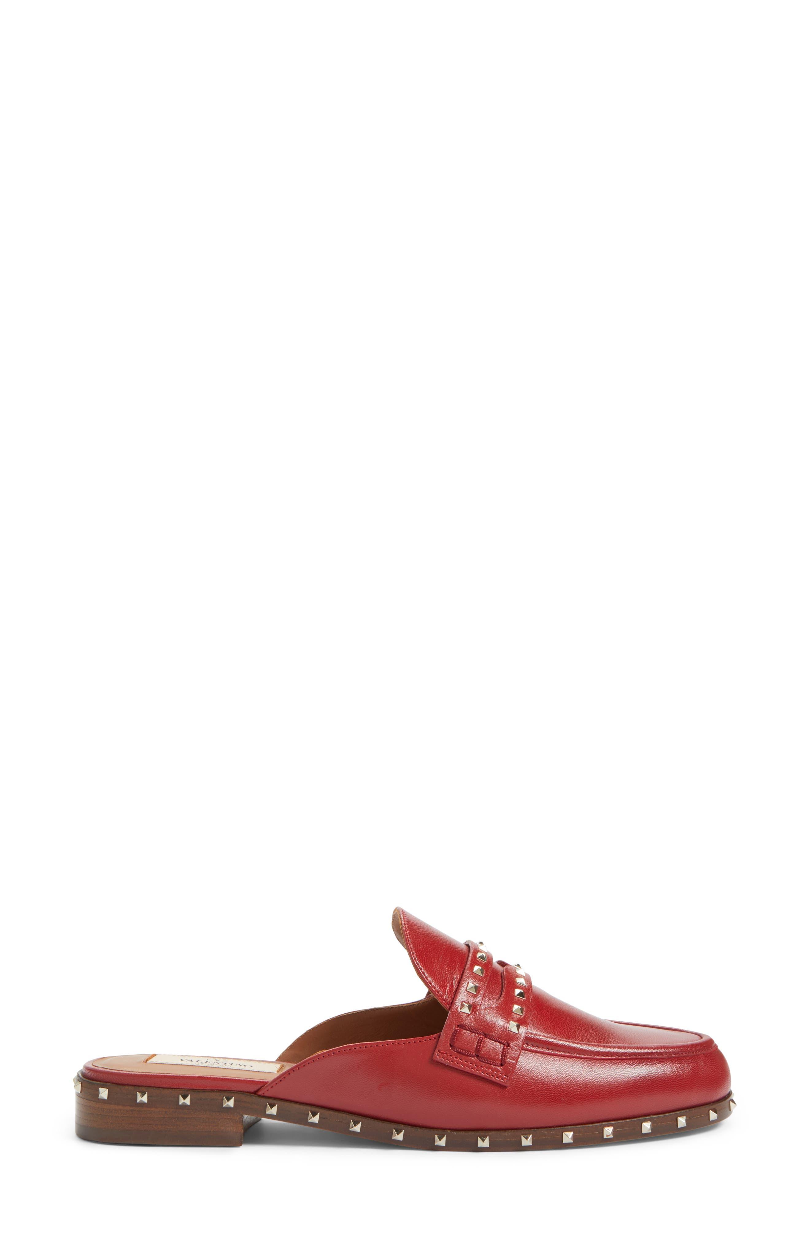 Soul Rockstud Loafer Mule,                             Alternate thumbnail 3, color,                             Red Leather