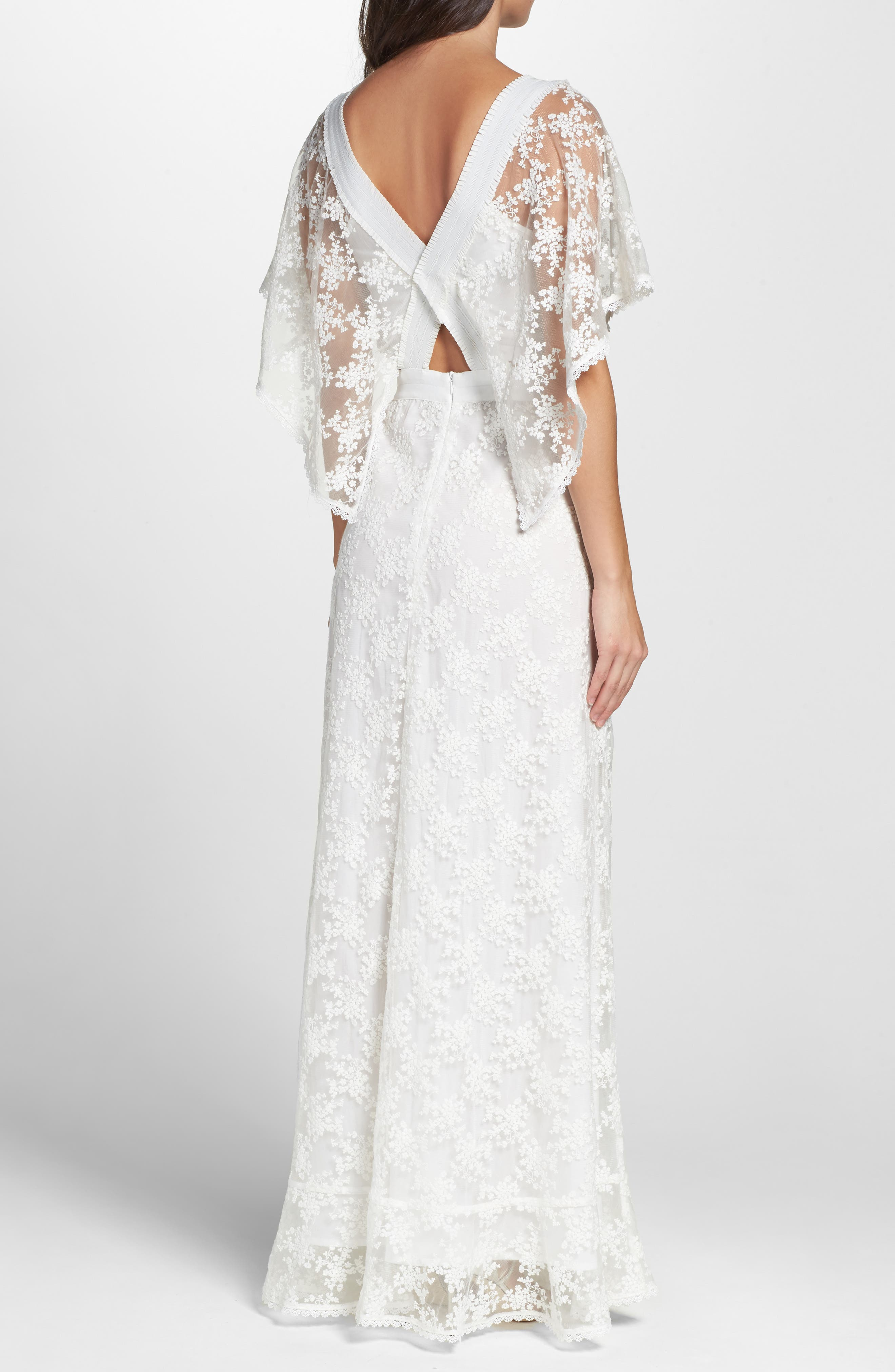 August Handkerchief Sleeve Embroidered Long Dress,                             Alternate thumbnail 2, color,                             Ivory