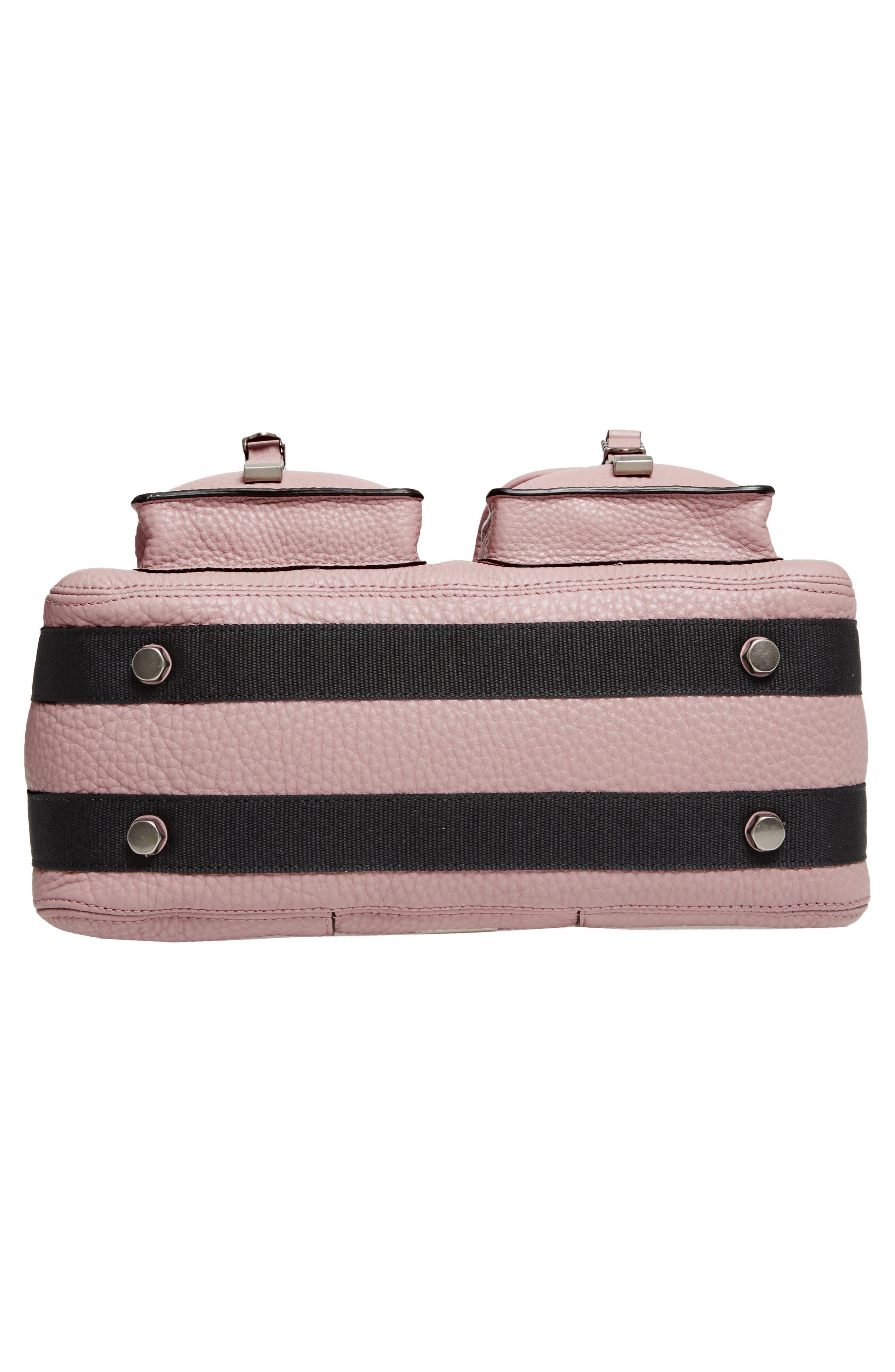 Military Pocket Leather Satchel,                             Alternate thumbnail 6, color,                             Vintage Pink