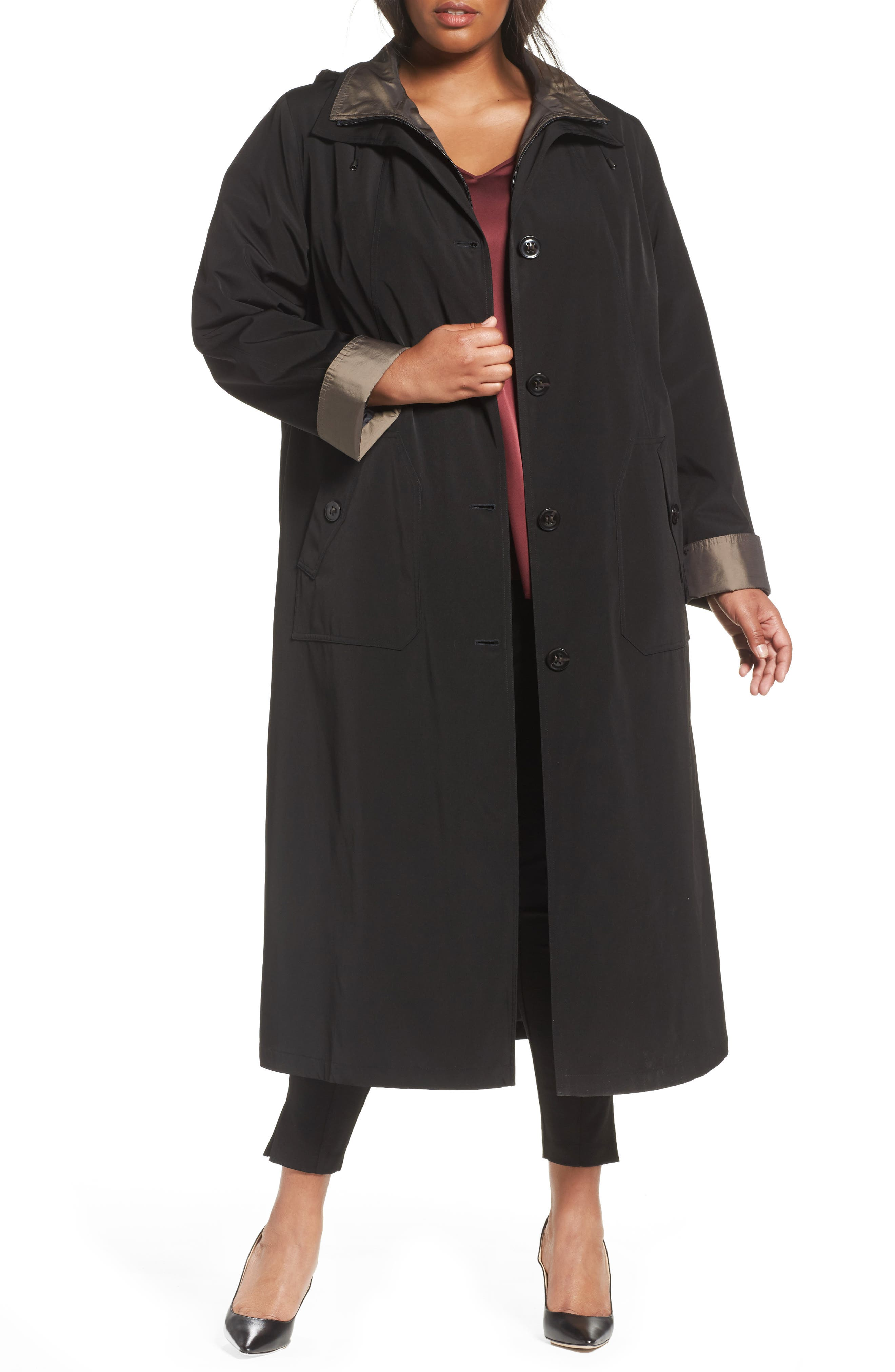 Long Raincoat with Detachable Hood & Liner,                         Main,                         color, Black / Bronze