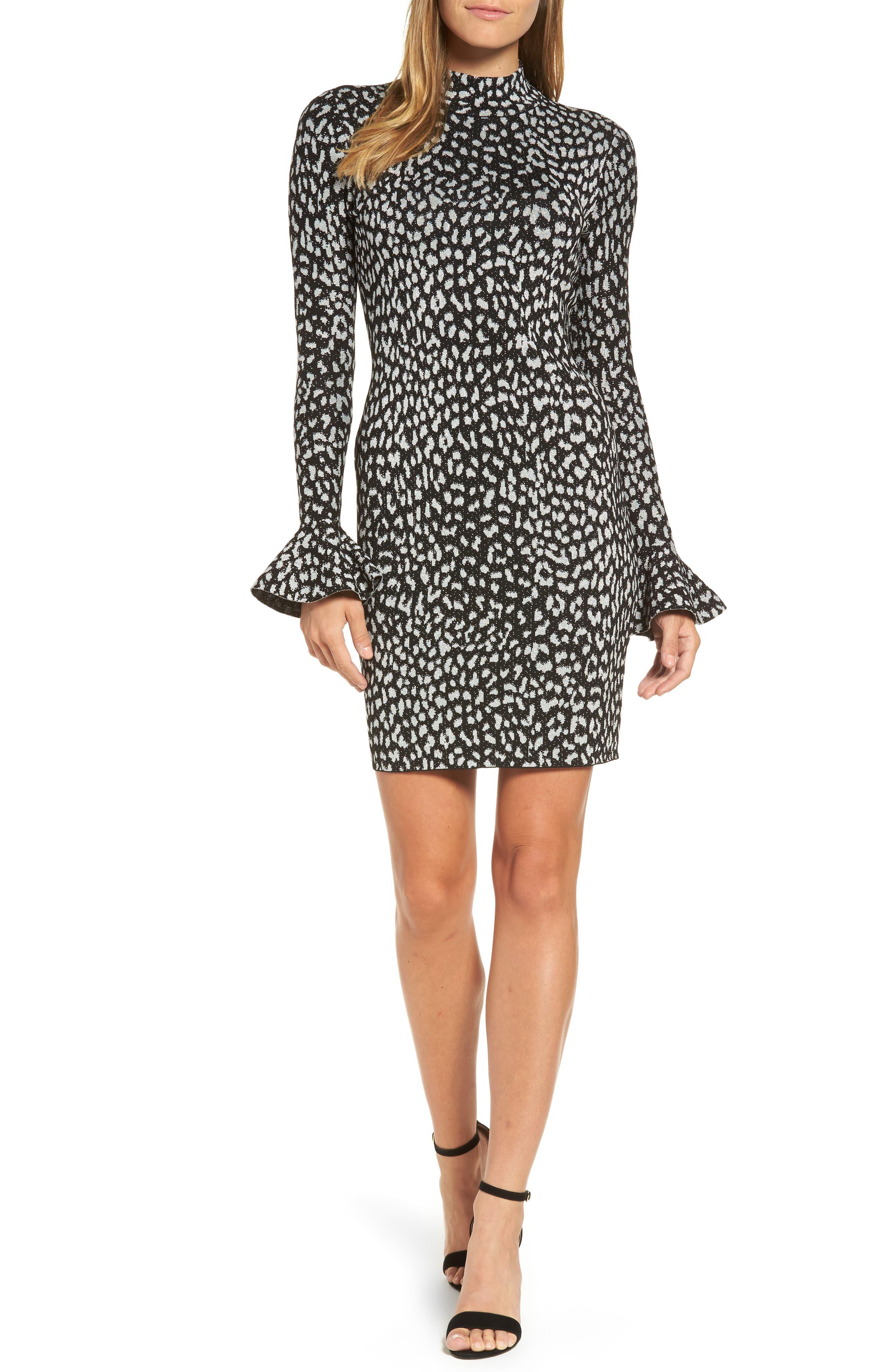 Metallic Cheetah Sheath Dress,                             Main thumbnail 1, color,                             Black