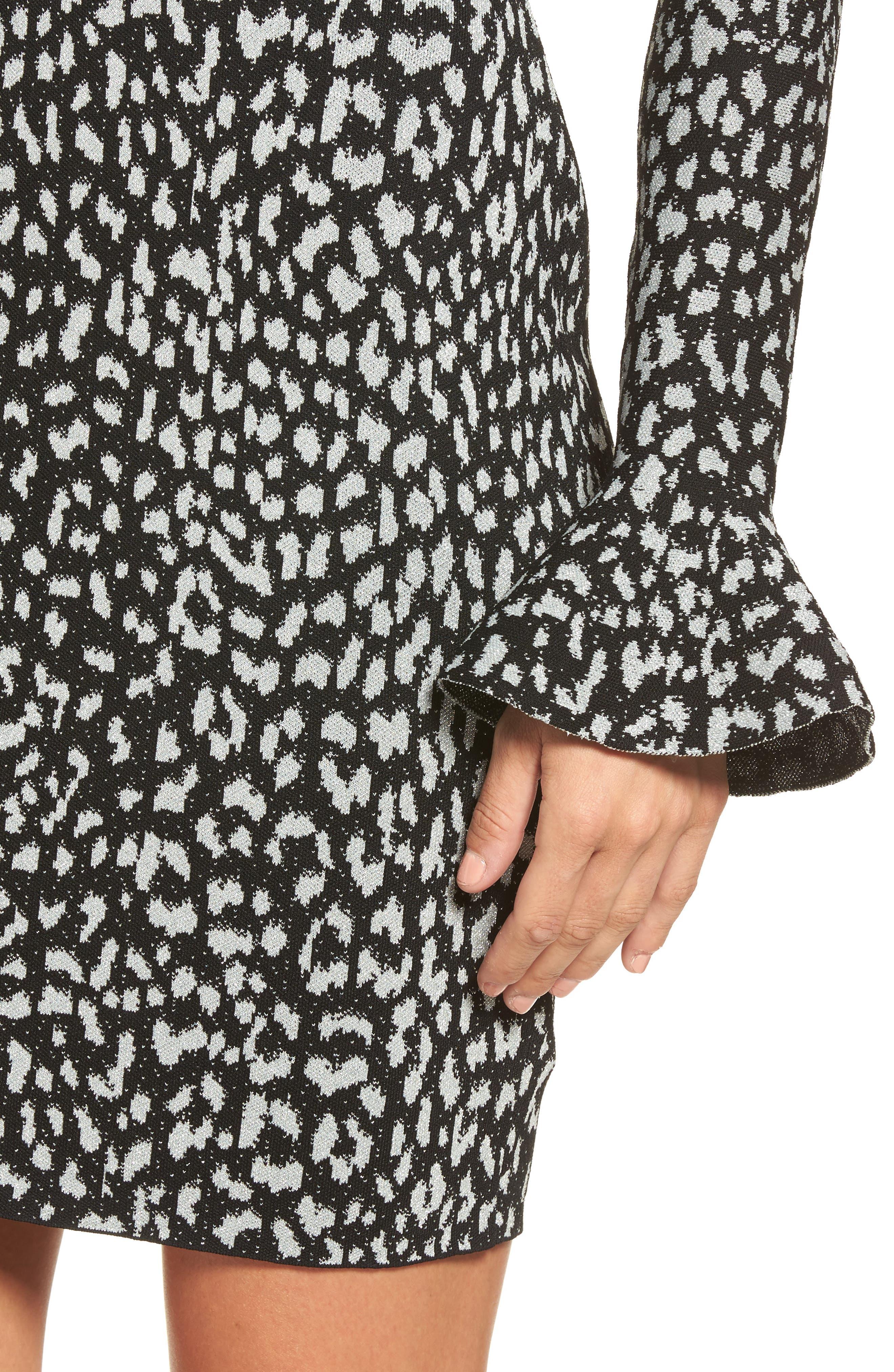 Metallic Cheetah Sheath Dress,                             Alternate thumbnail 4, color,                             Black