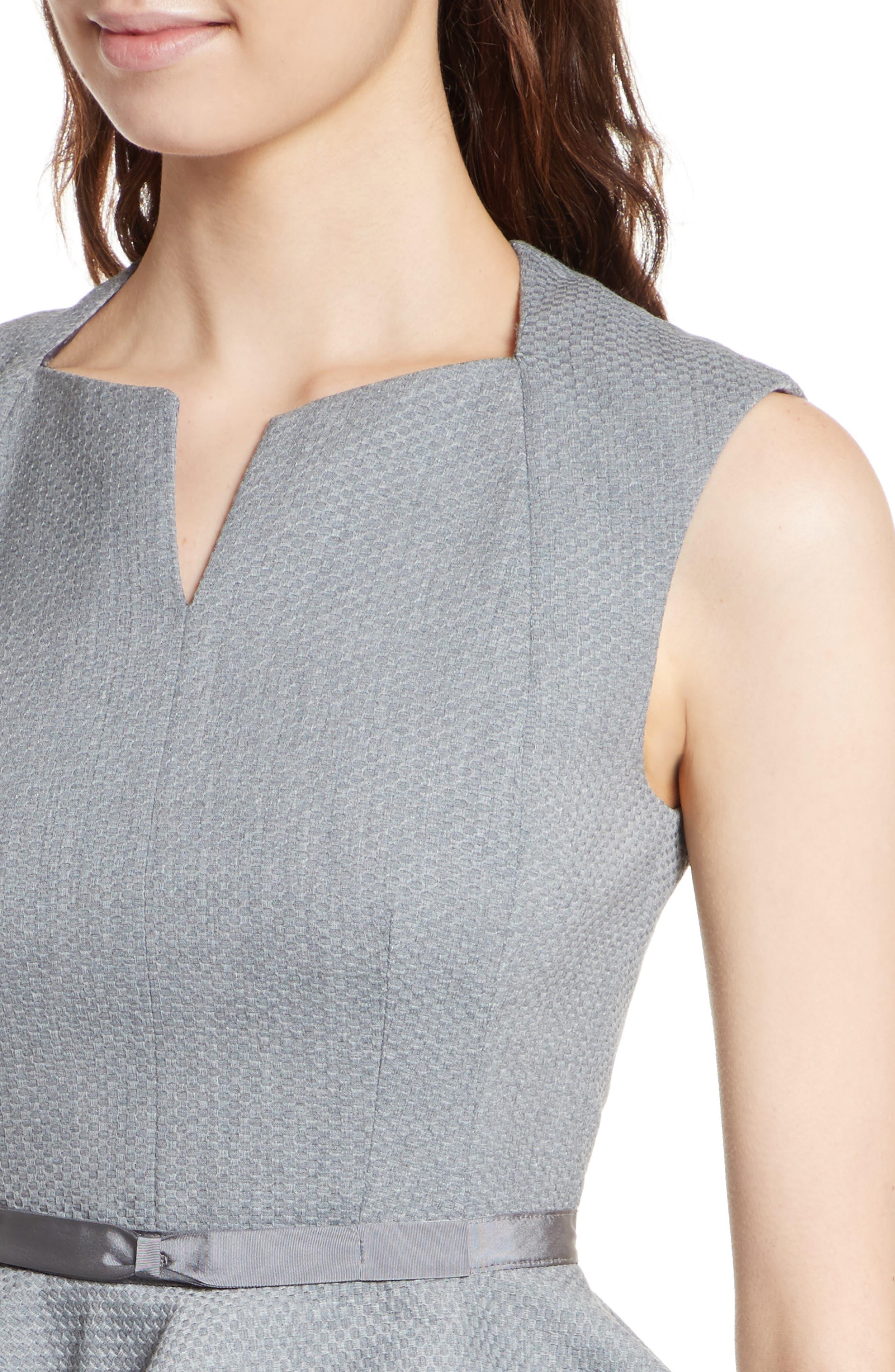 Nadaed Bow Detail Textured Peplum Dress,                             Alternate thumbnail 4, color,                             Mid Grey