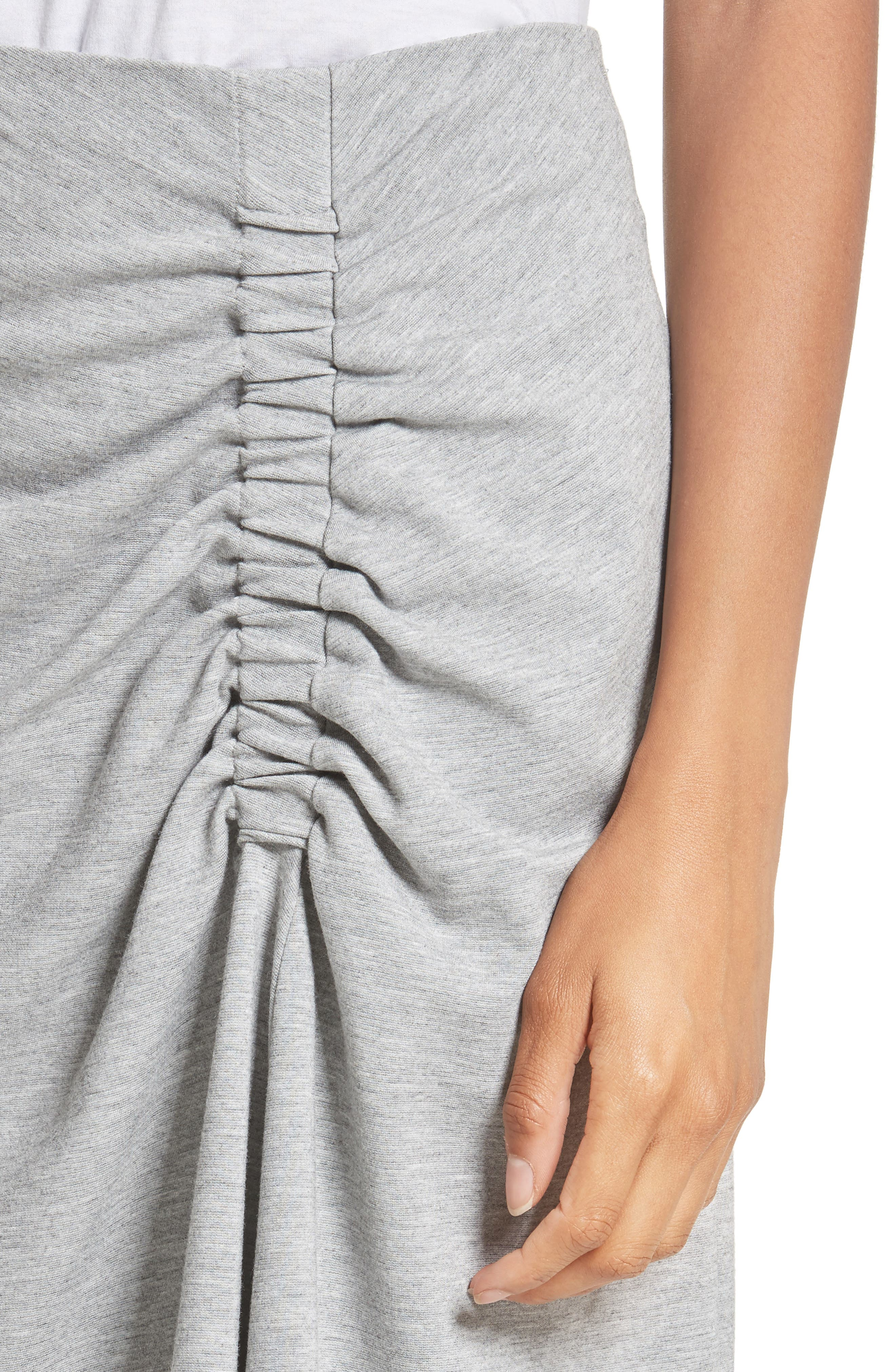 Ruched Midi Skirt,                             Alternate thumbnail 4, color,                             Heather Grey