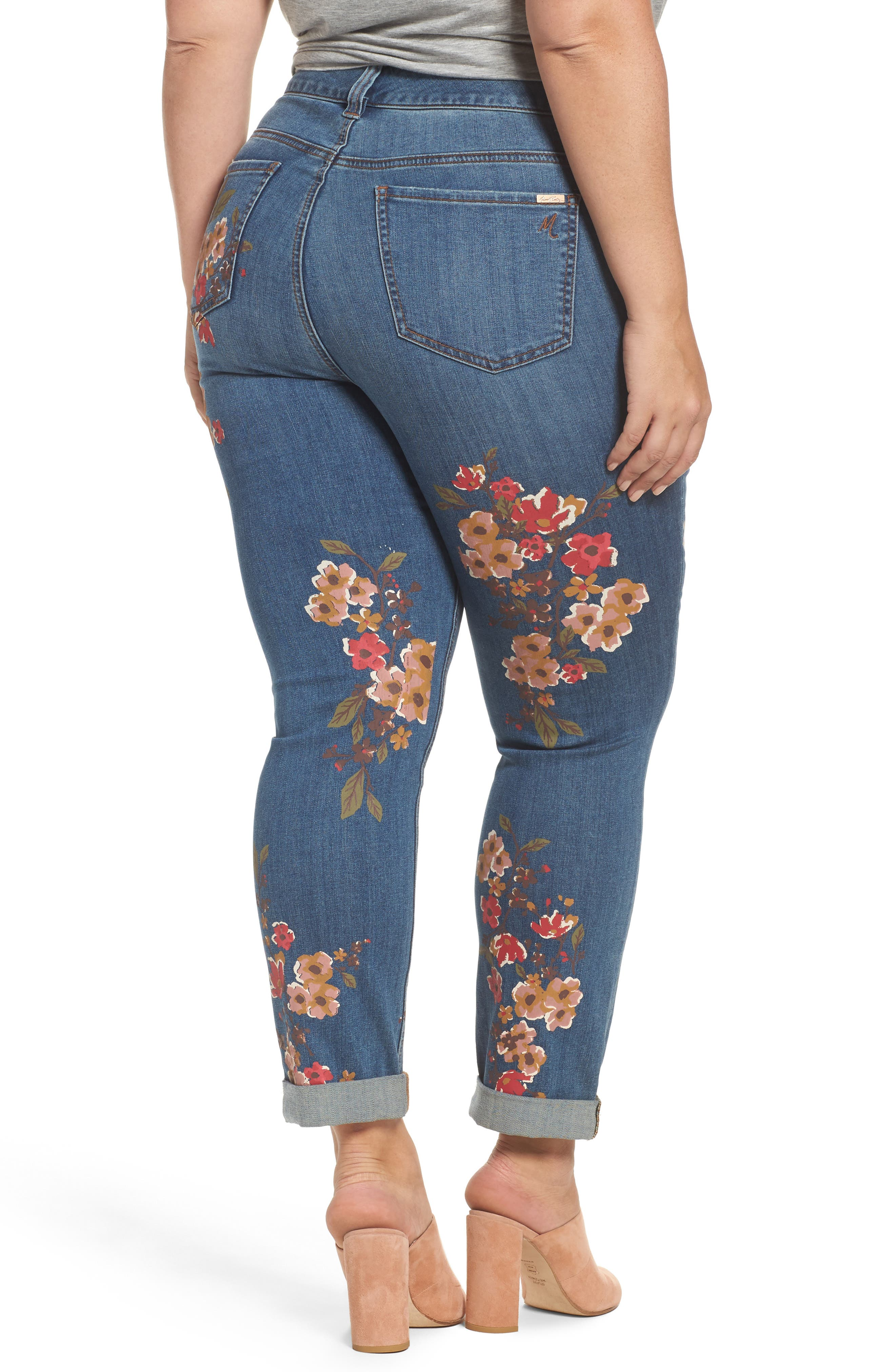 Painted Flowers Skinny Jeans,                             Alternate thumbnail 2, color,                             Destiny
