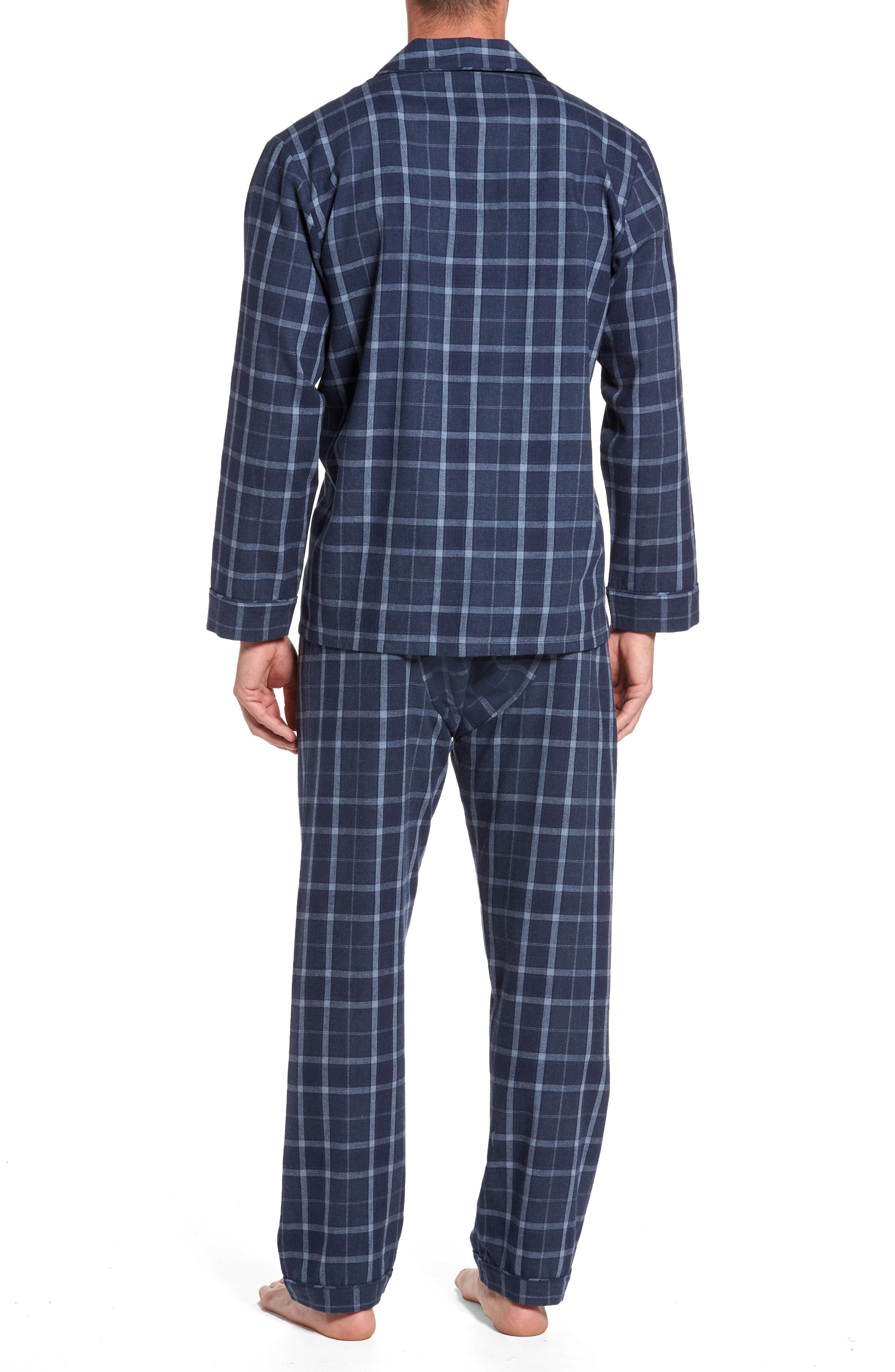 Guiness Plaid Pajama Set,                             Alternate thumbnail 2, color,                             Navy