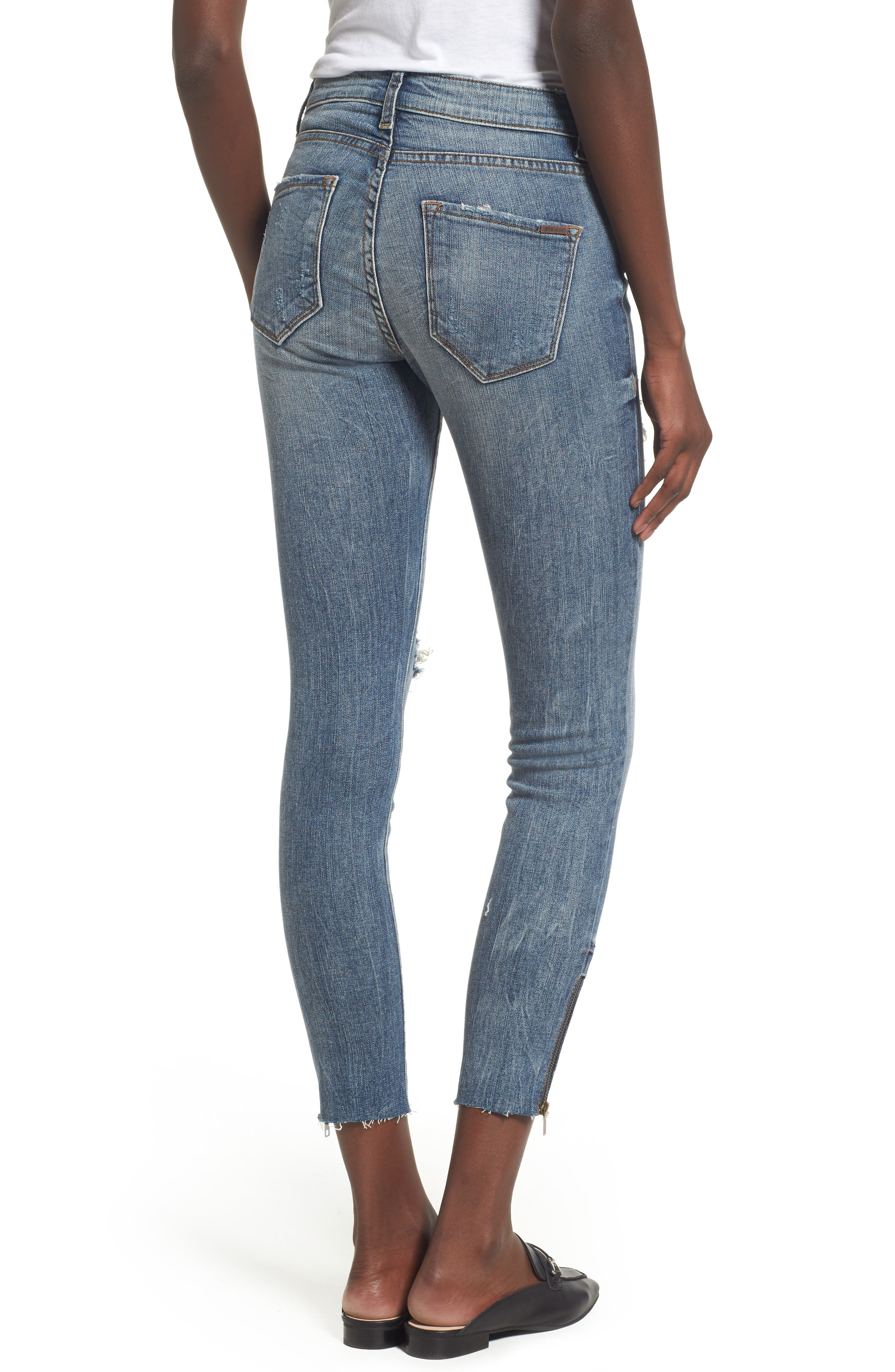 Taylor Zip Detail Skinny Ankle Jeans,                             Alternate thumbnail 2, color,                             Rockland