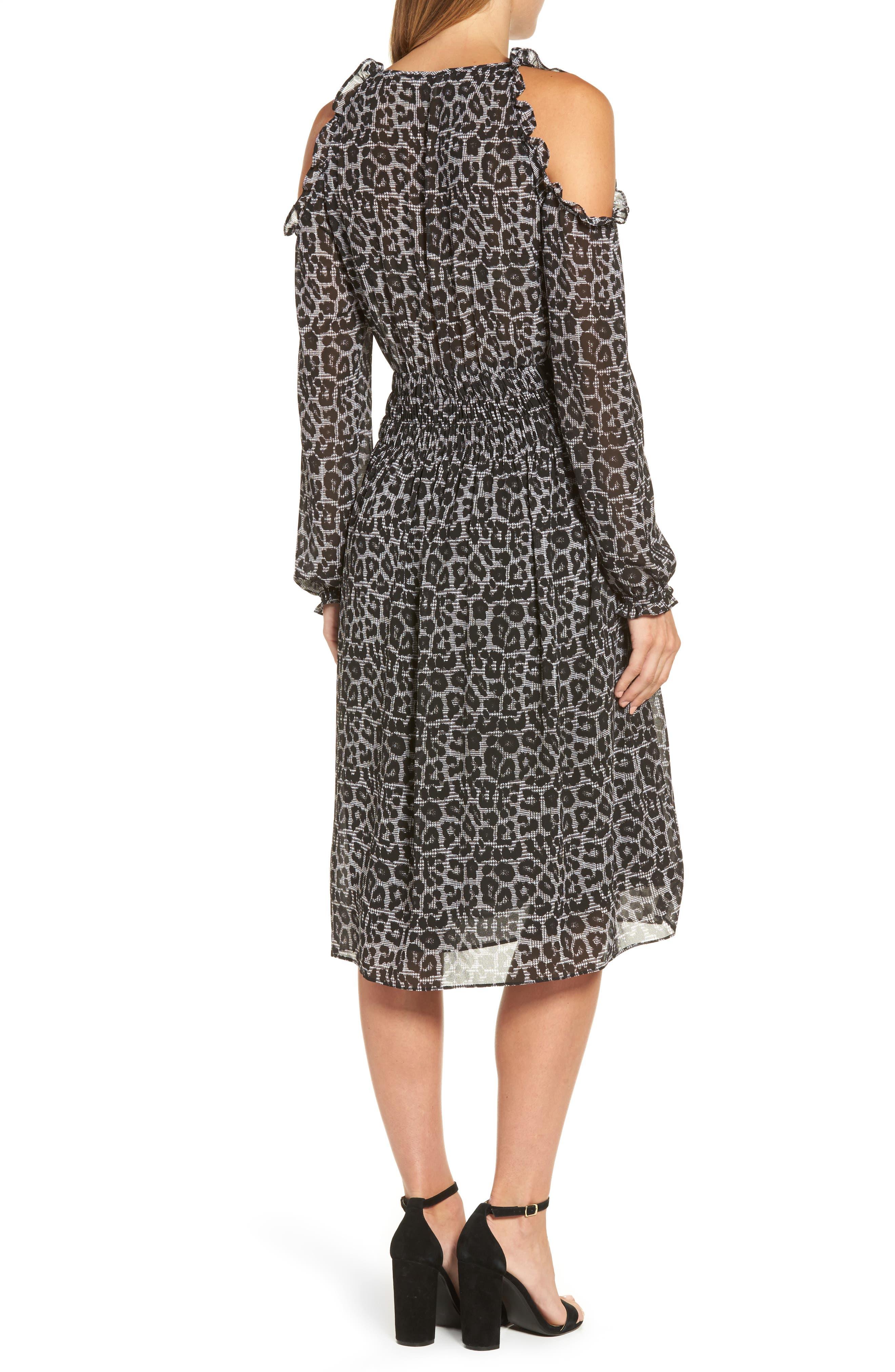 Alternate Image 2  - MICHAEL Michael Kors Leopard Cold Shoulder Midi Dress