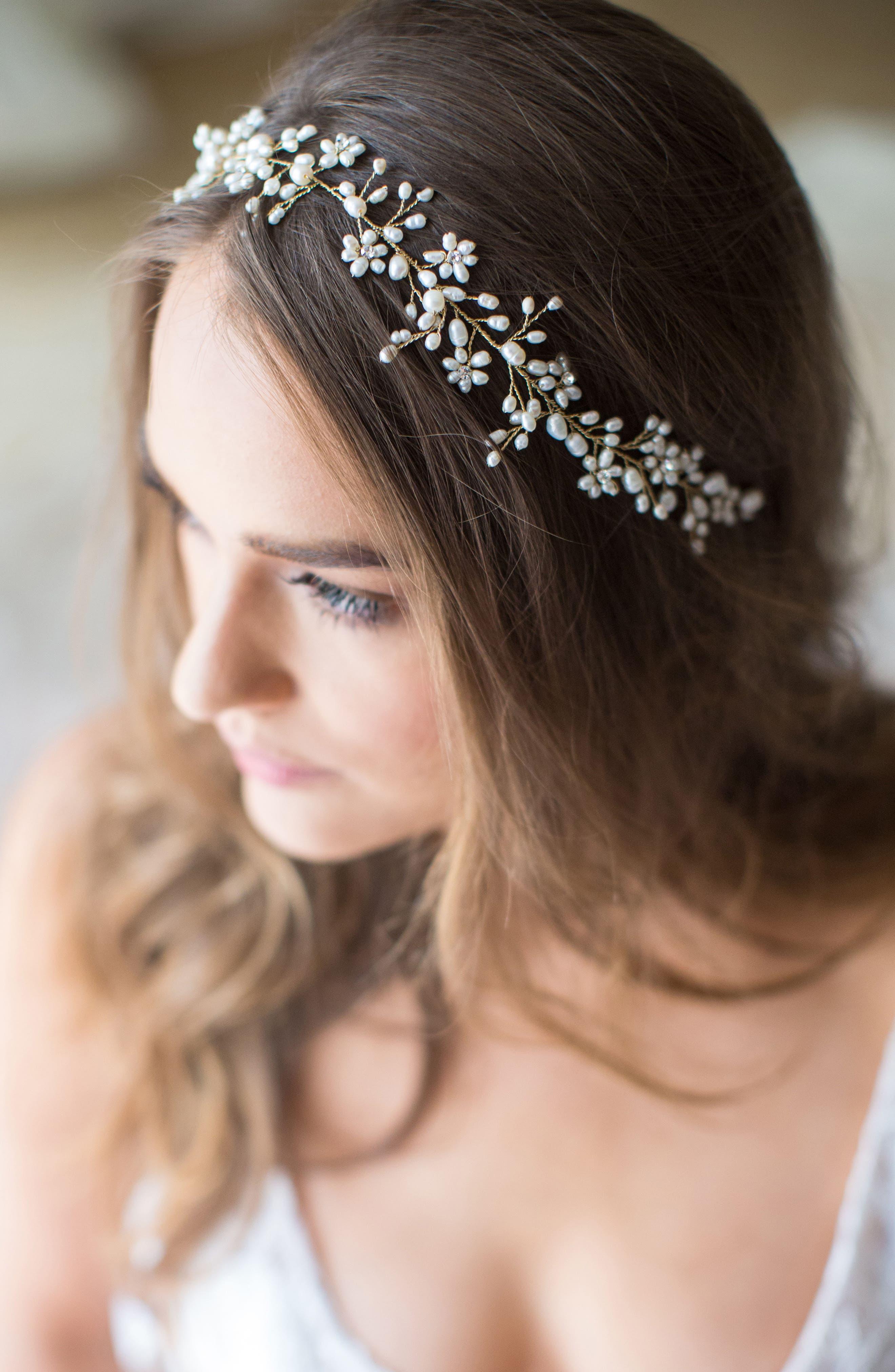 BRIDES & HAIRPINS Ines Pearl & Jeweled Halo & Sash
