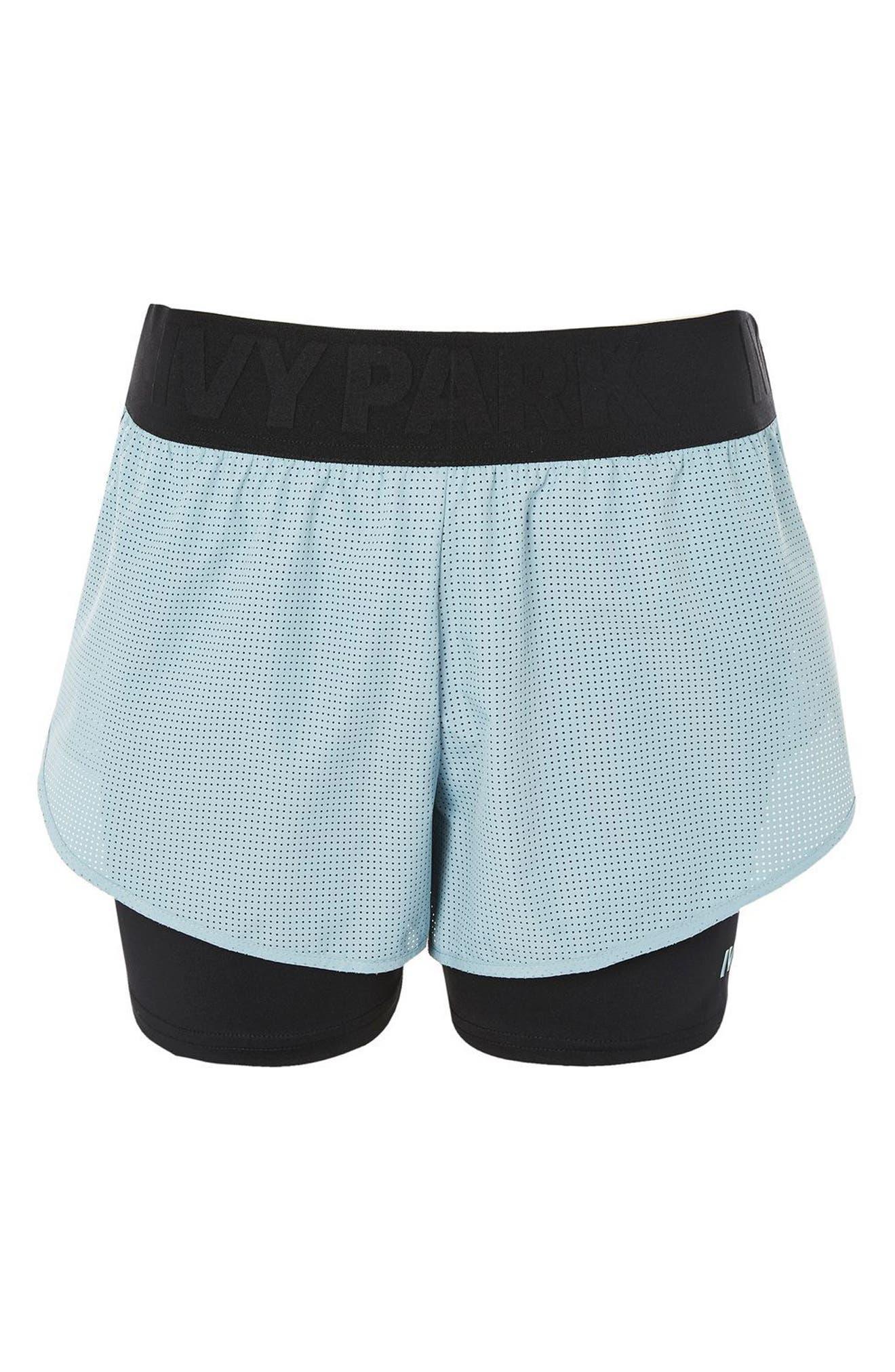 Perforated 2-in-1 Runner Shorts,                             Alternate thumbnail 4, color,                             Porcelain Blue