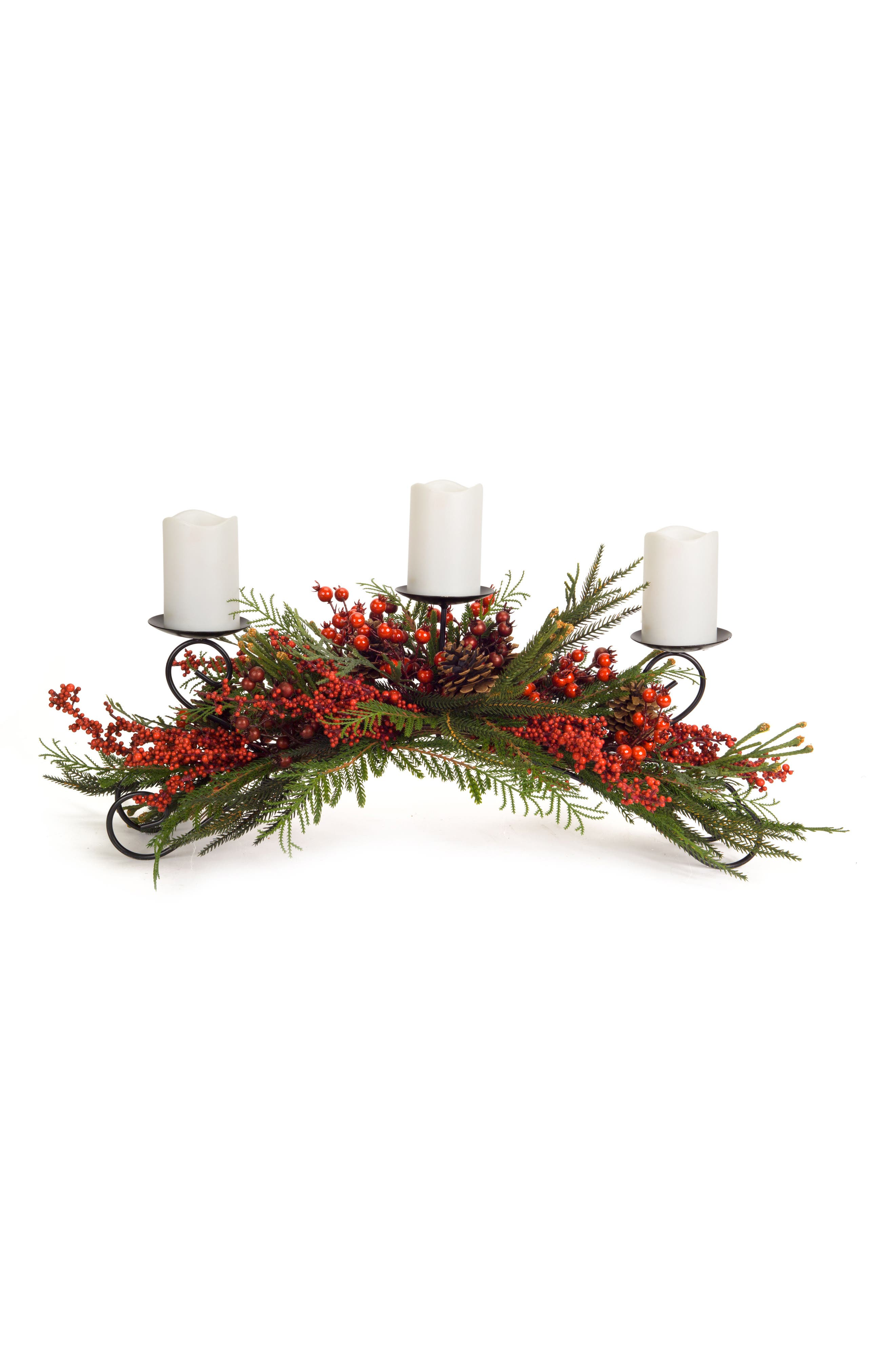 Winter Berry Candle Holder Garland,                         Main,                         color, Red