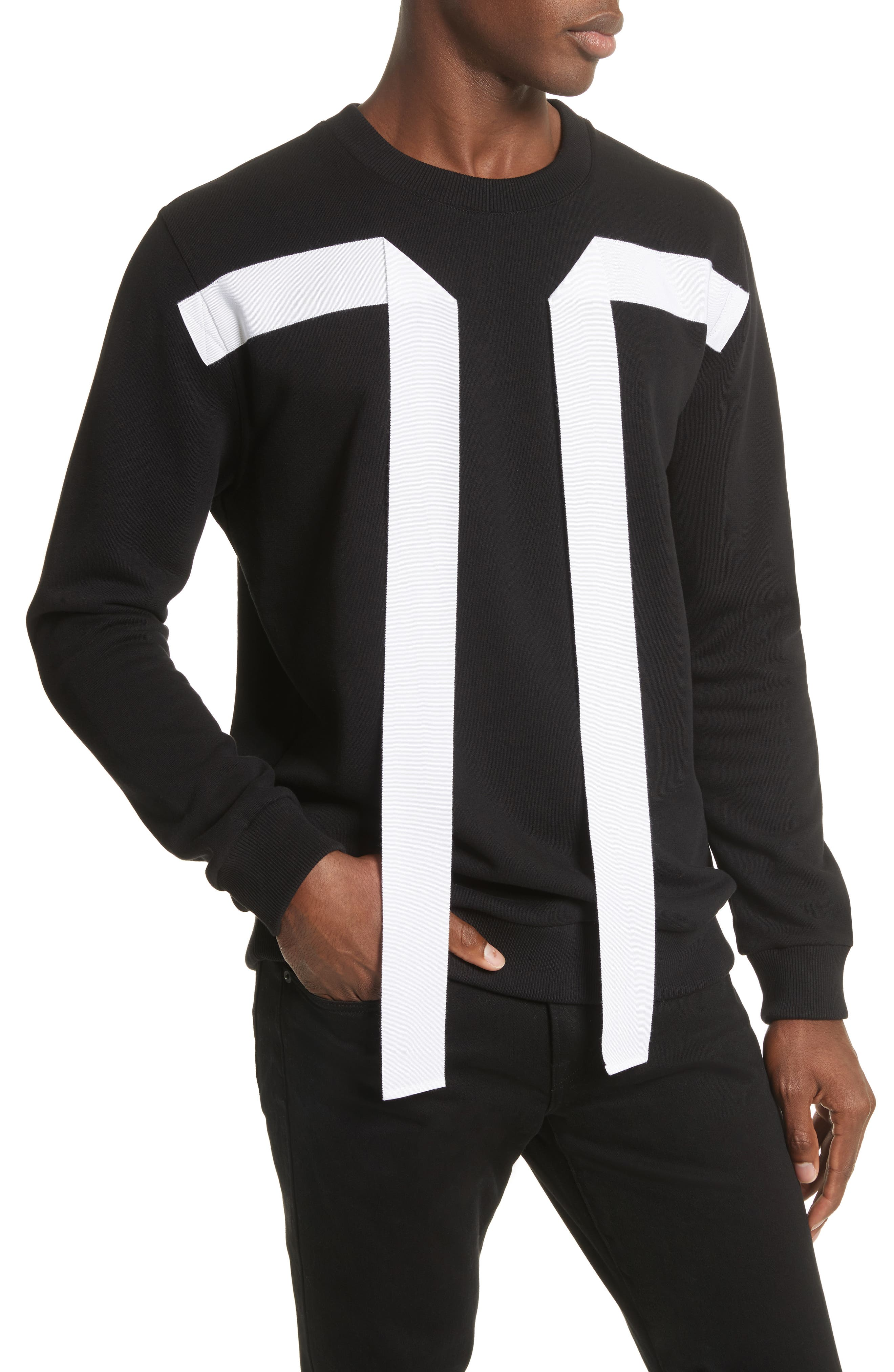 Flying Bands Crewneck Sweatshirt,                             Alternate thumbnail 4, color,                             Black
