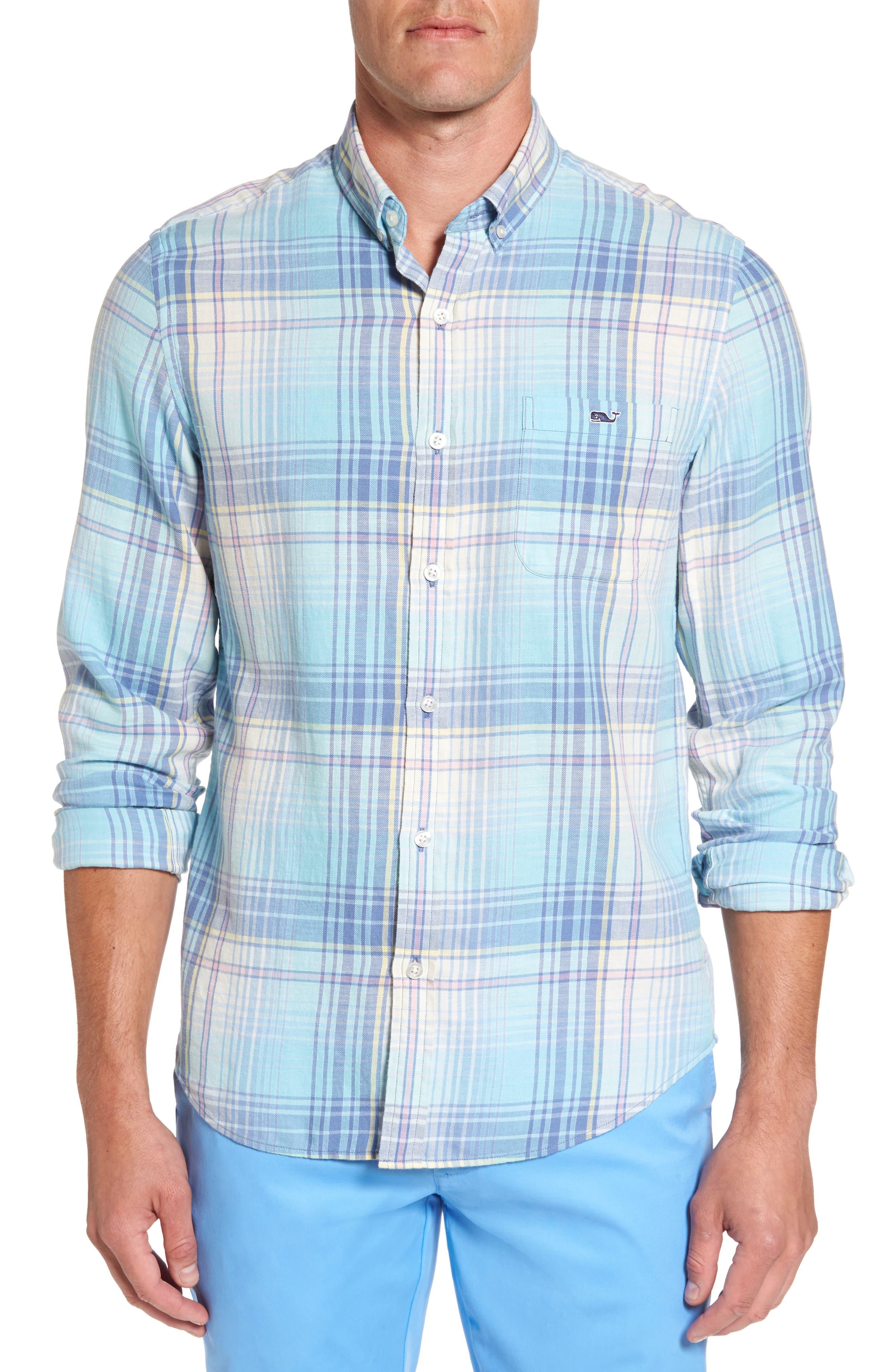 Pequot Plaid Slim Fit Tucker Sport Shirt,                         Main,                         color, Skyfall