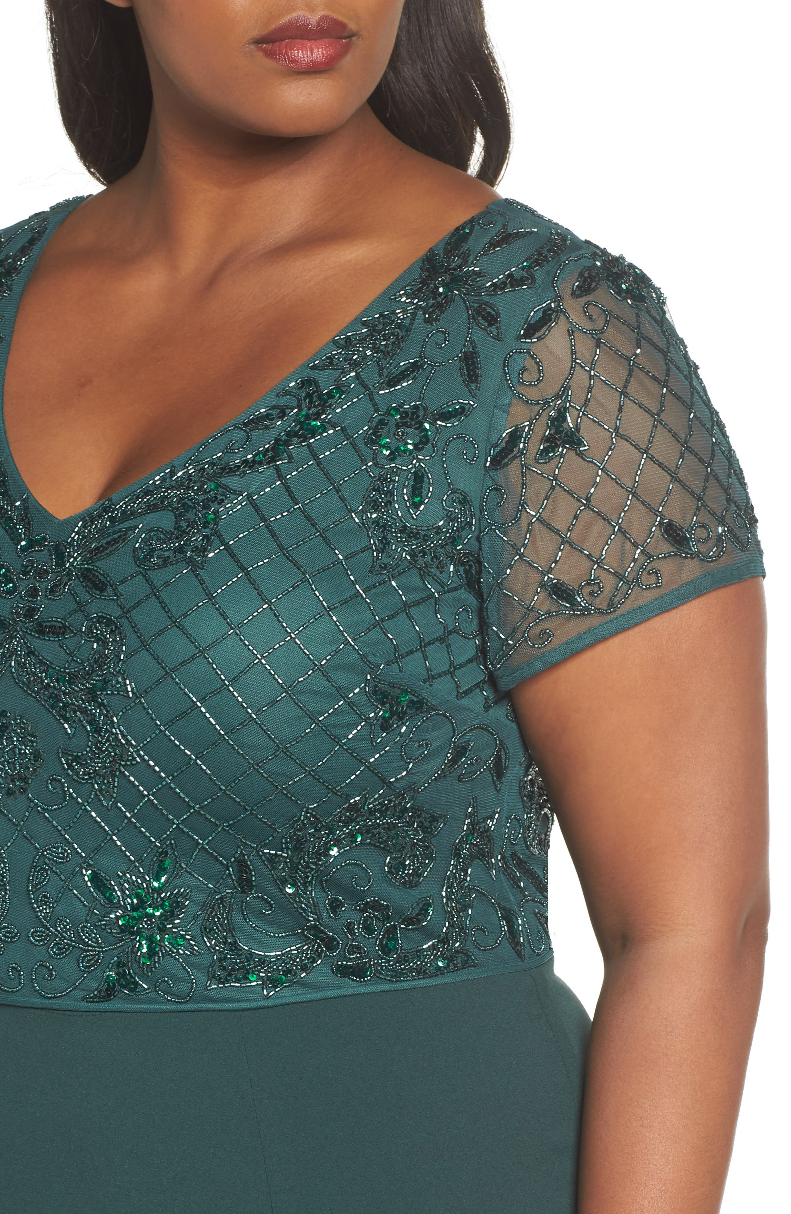 Alternate Image 4  - Adrianna Papell Beaded Crepe Gown (Plus Size)