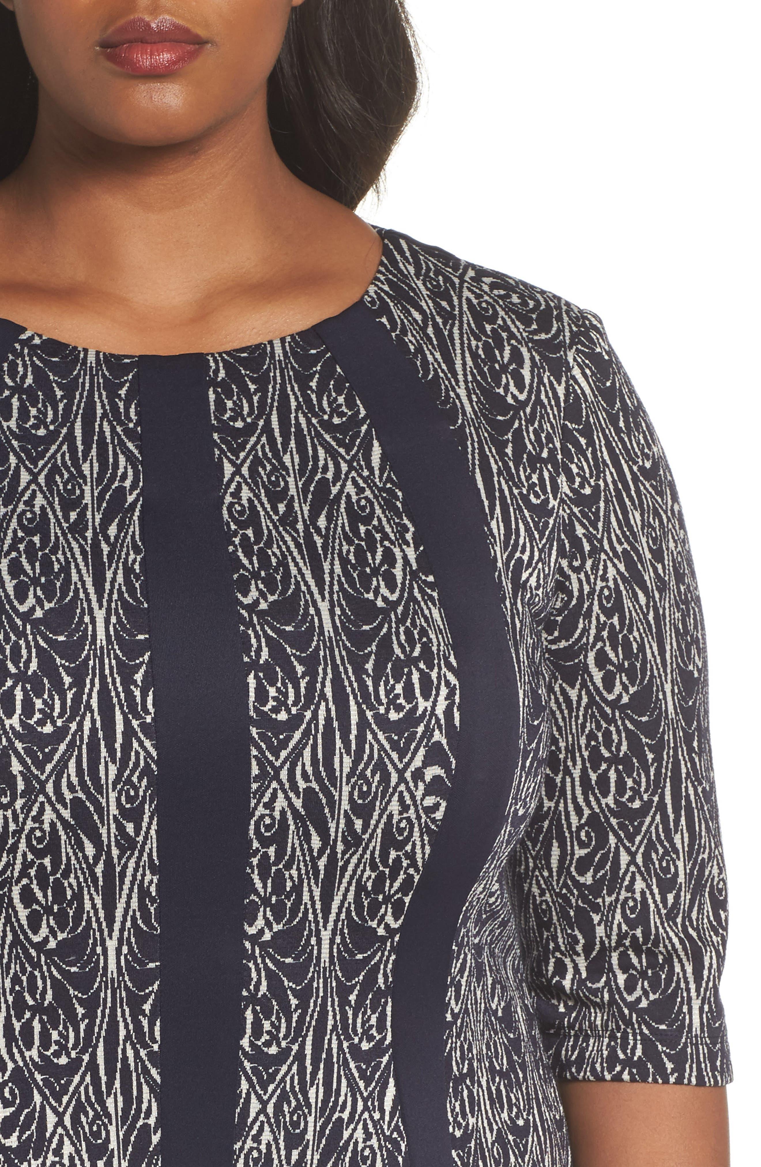 Jacquard Knit A-Line Dress,                             Alternate thumbnail 4, color,                             Navy/ Ivory
