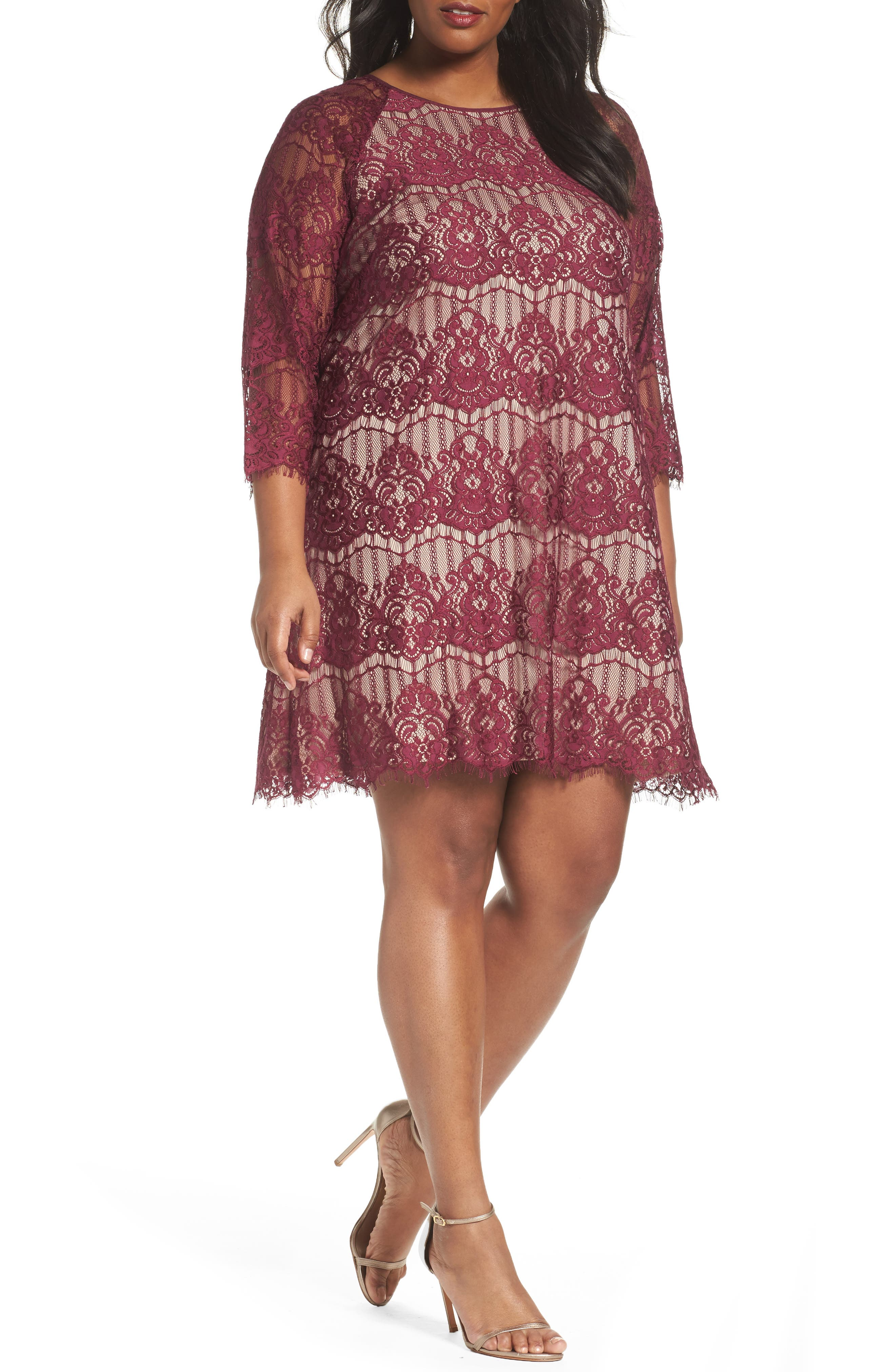 Main Image - Adrianna Papell Scalloped Lace Trapeze Dress (Plus Size)