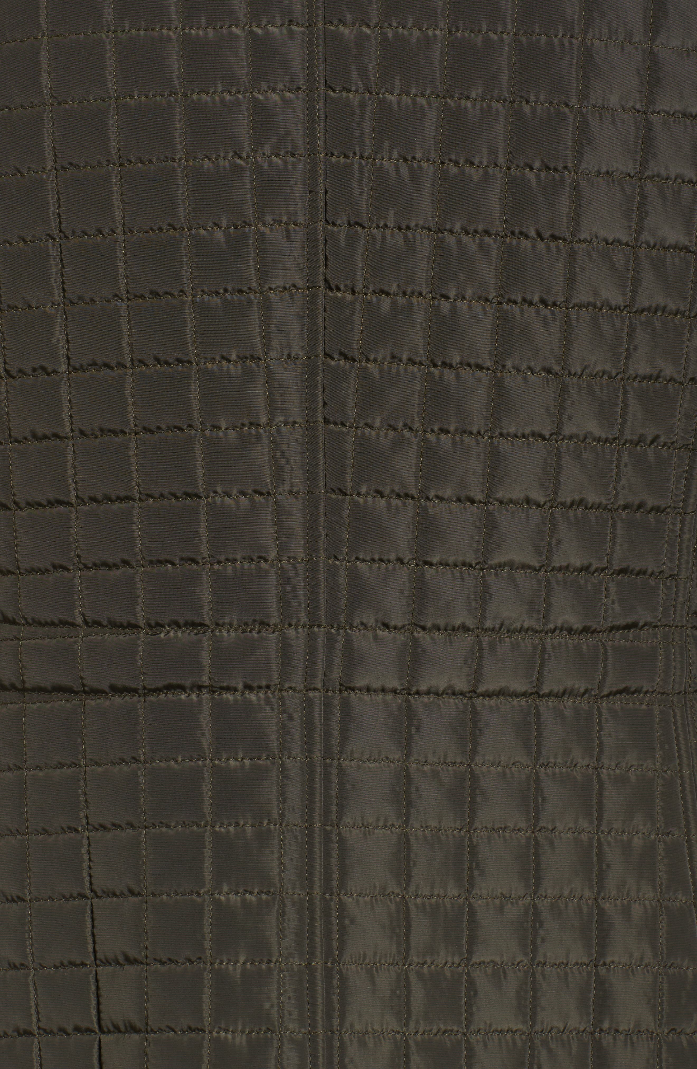 Quilted Jacket with Faux Shearling Trim,                             Alternate thumbnail 5, color,                             Dark Moss
