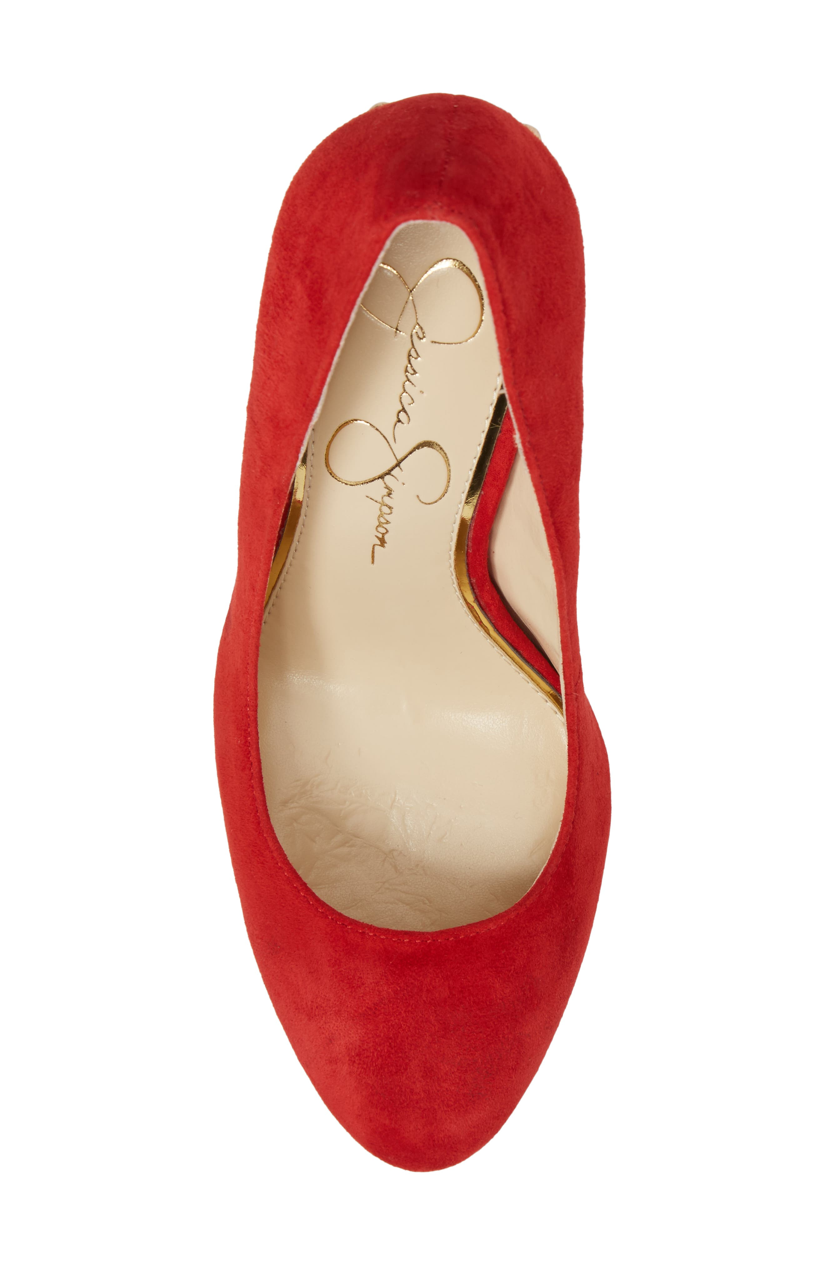 Bainer Block Heel Pump,                             Alternate thumbnail 5, color,                             Red Muse Suede