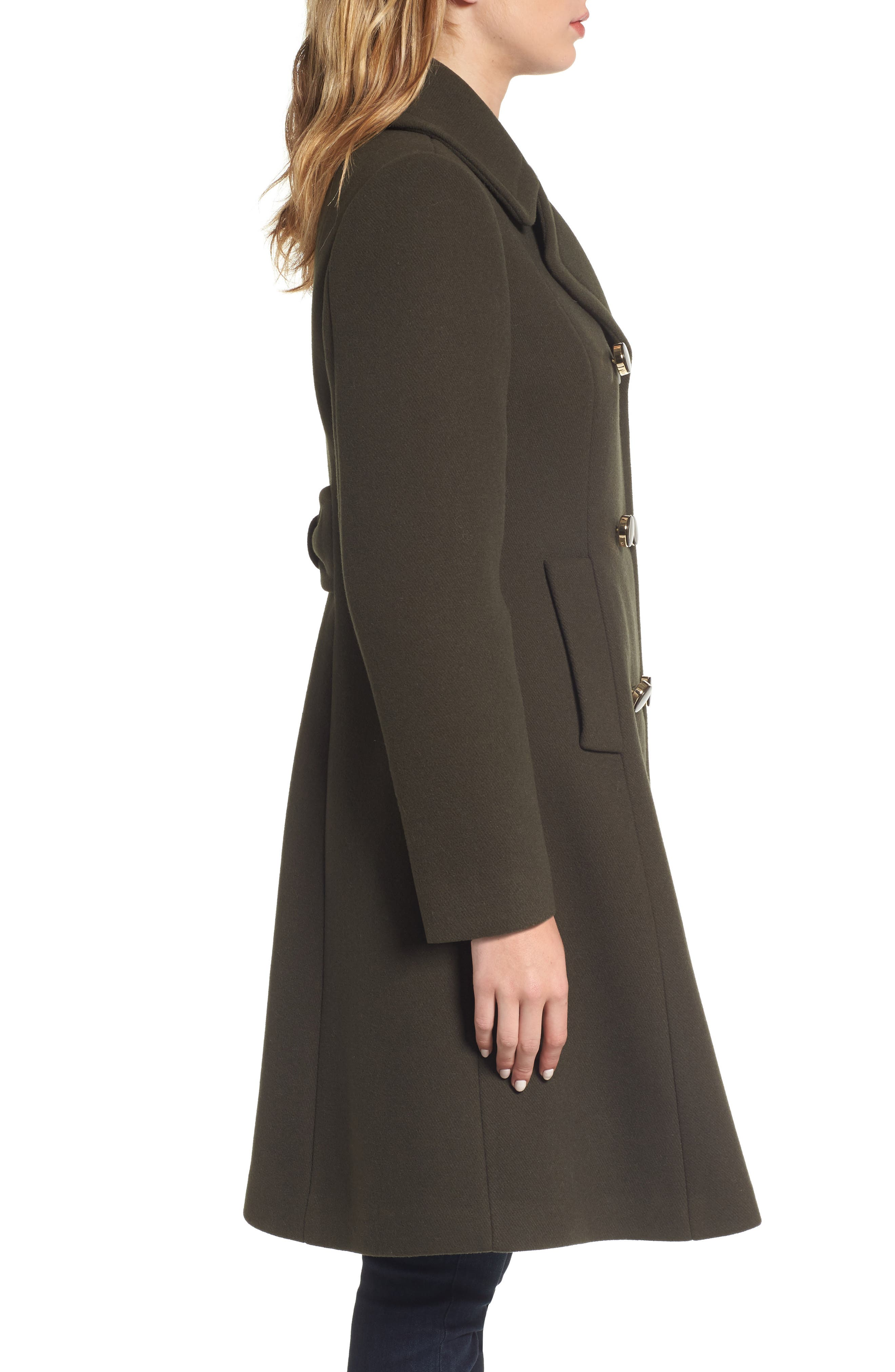 twill fit & flare coat,                             Alternate thumbnail 3, color,                             Olive Grove