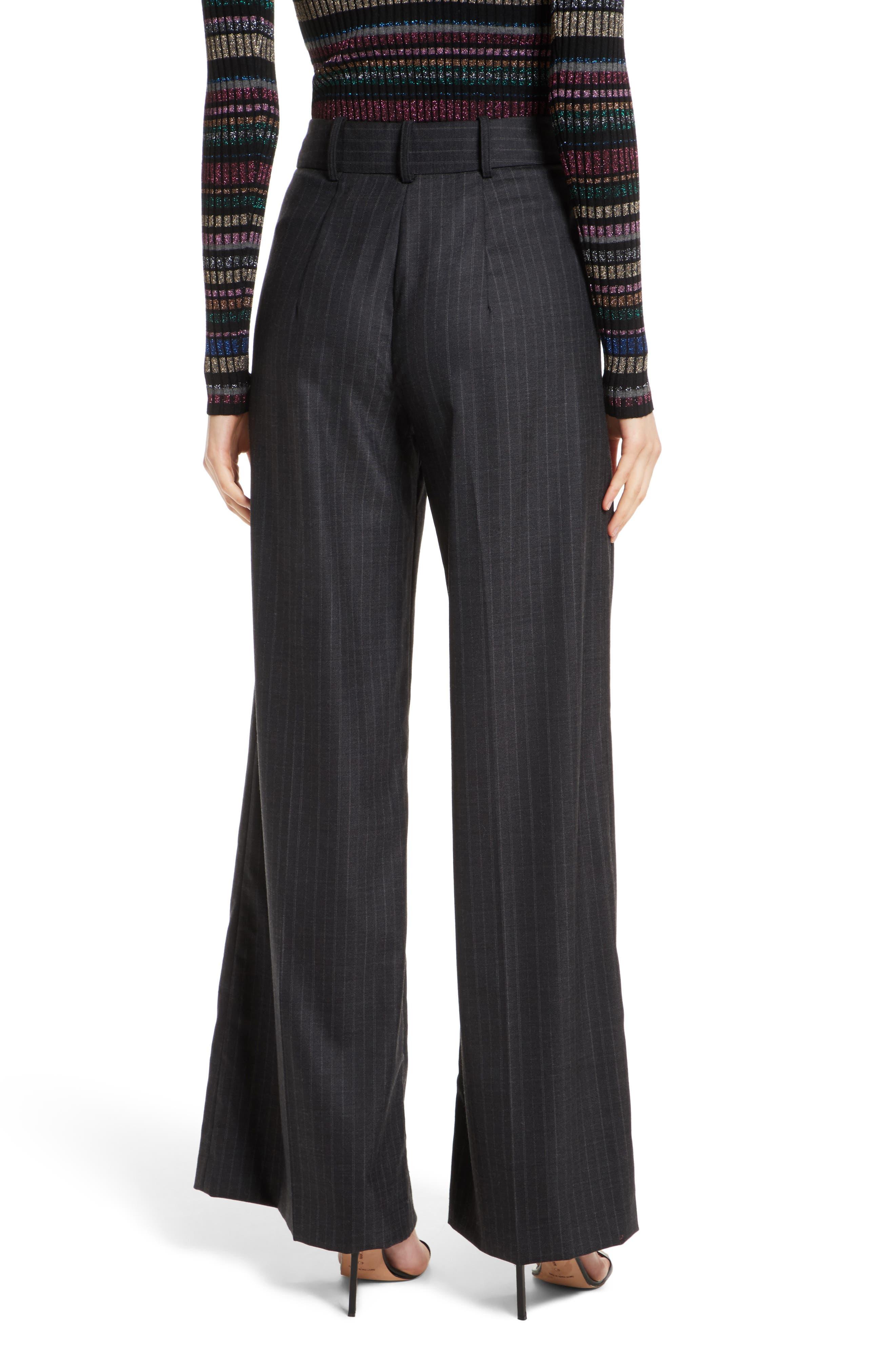 Sia Pinstripe Italian Stretch Wool Trousers,                             Alternate thumbnail 3, color,                             Grey Stripe