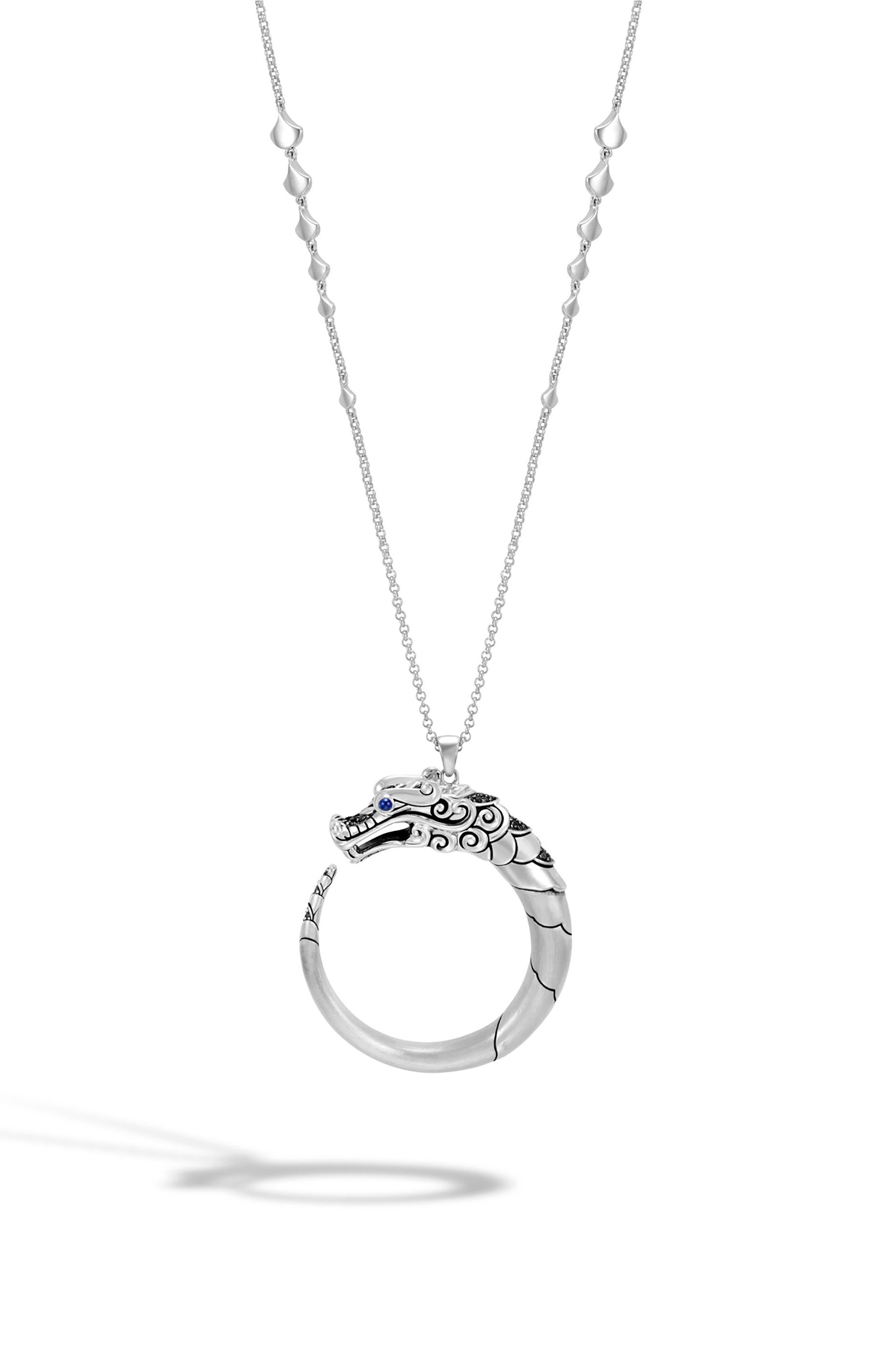 Legends Naga Long Pendant Necklace,                             Main thumbnail 1, color,                             Silver/ Black/ Blue Sapphire