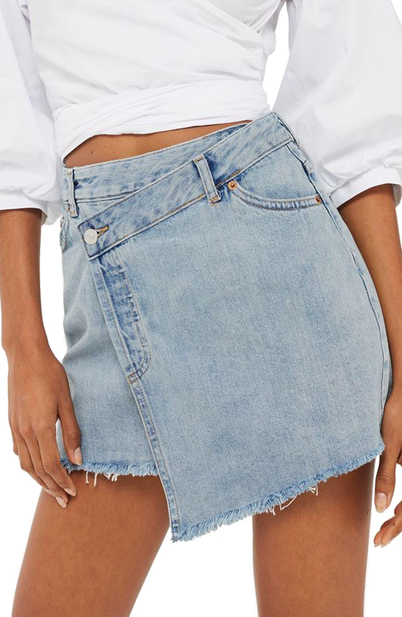 Alternate Image 1 Selected - Topshop Deconstructed Wrap Denim Skirt