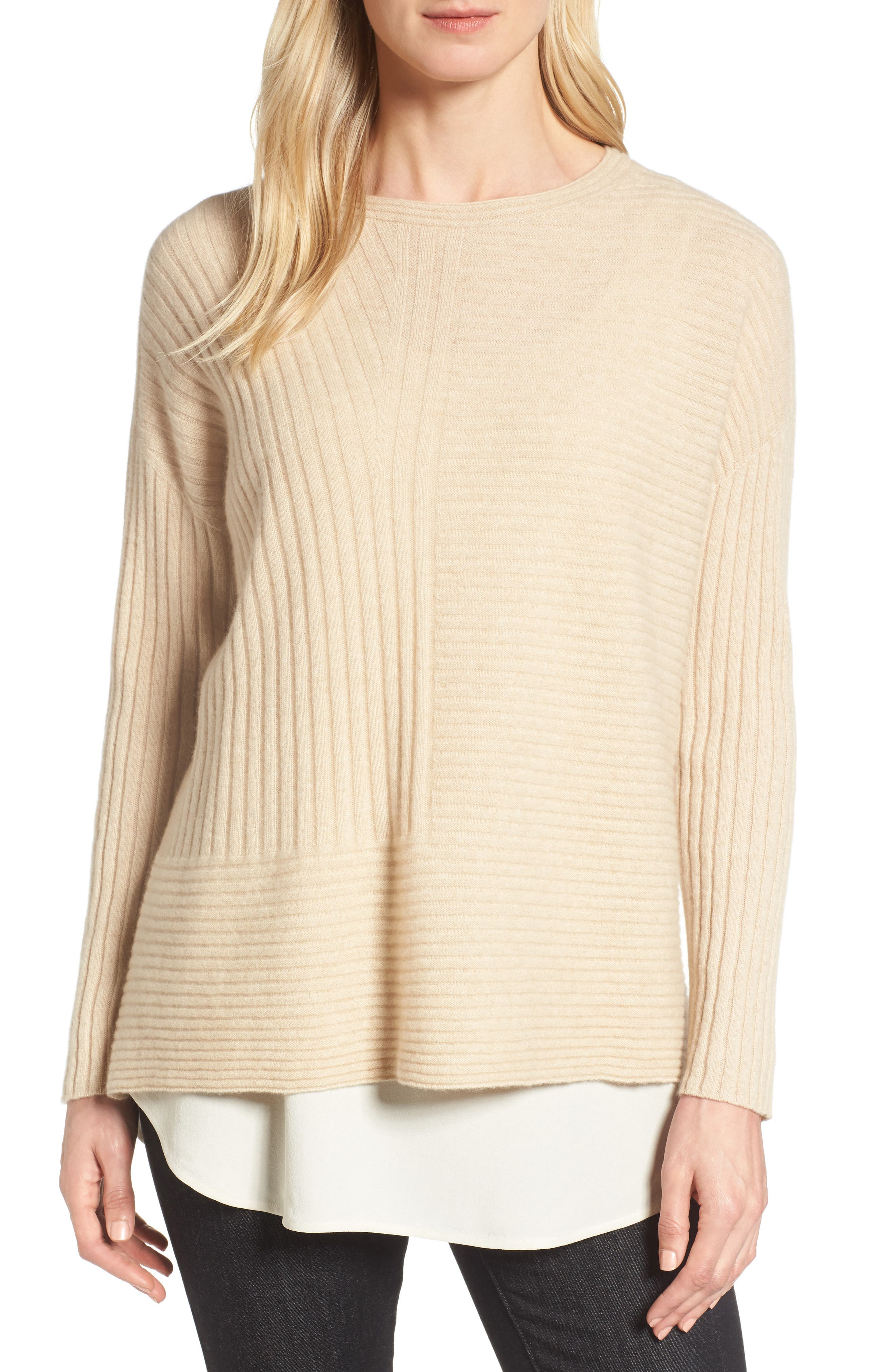 Ribbed Cashmere Sweater,                         Main,                         color, Maple Oat
