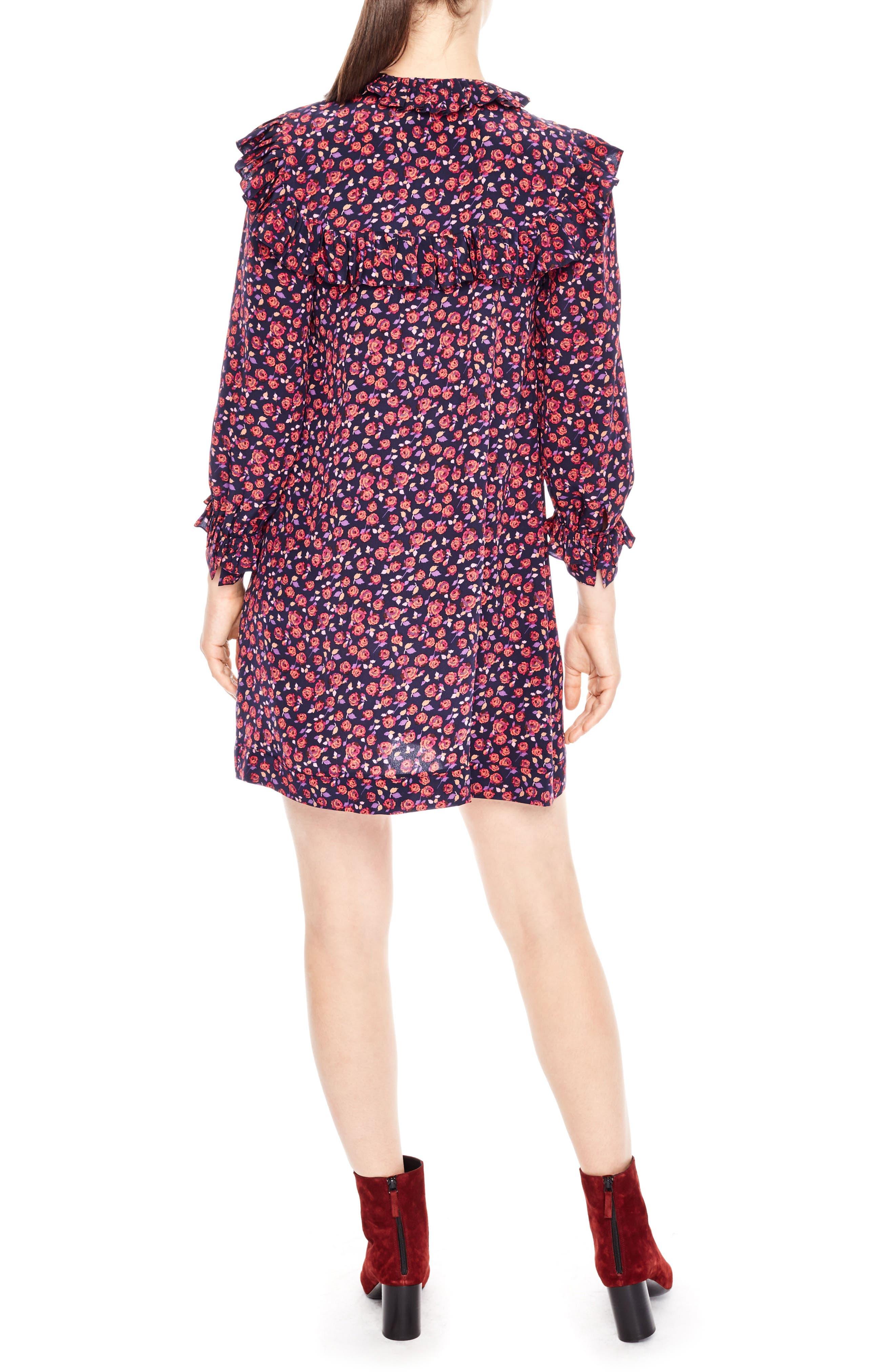 Alternate Image 2  - sandro Ruffle Floral Print Silk Shift Dress
