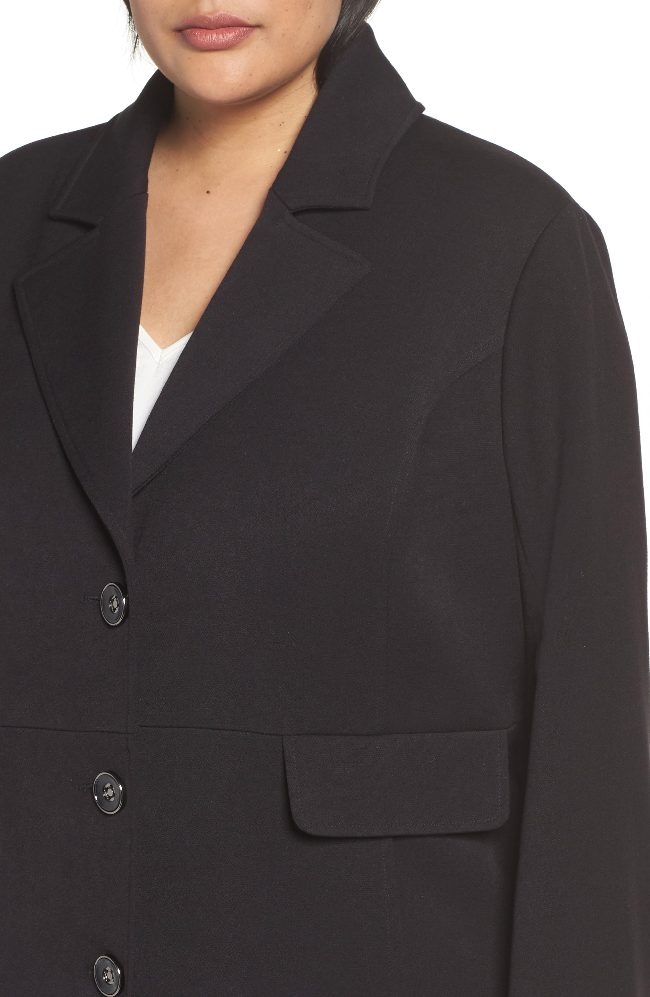 Single Breasted Ponte Coat,                             Alternate thumbnail 4, color,                             Black