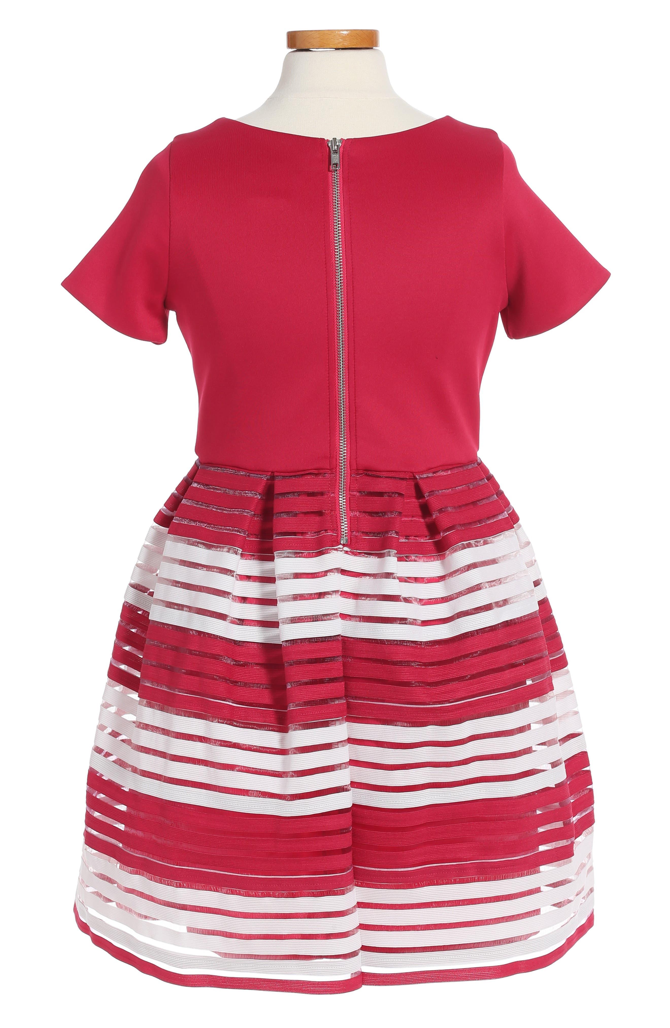 Alternate Image 2  - BLUSH by US Angels Elastic Stripe Dress (Big Girls)