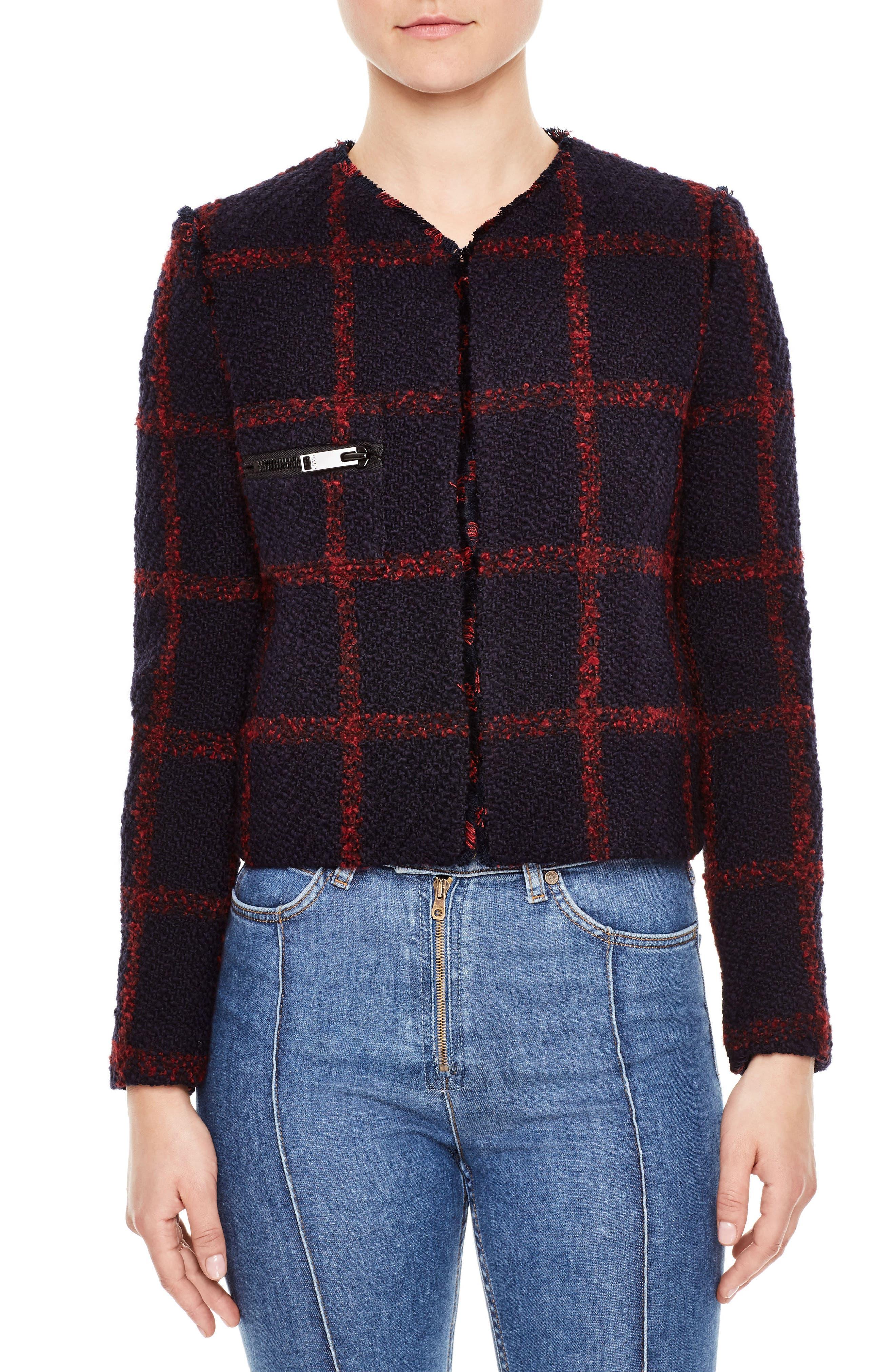 Crop Tweed Jacket,                         Main,                         color, Navy
