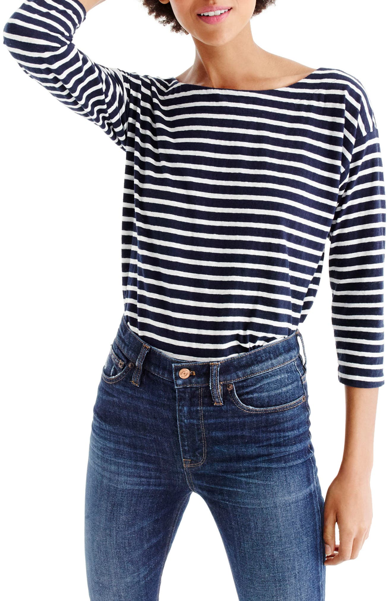 Stripe Boatneck Tee,                         Main,                         color, Navy/ Ivory