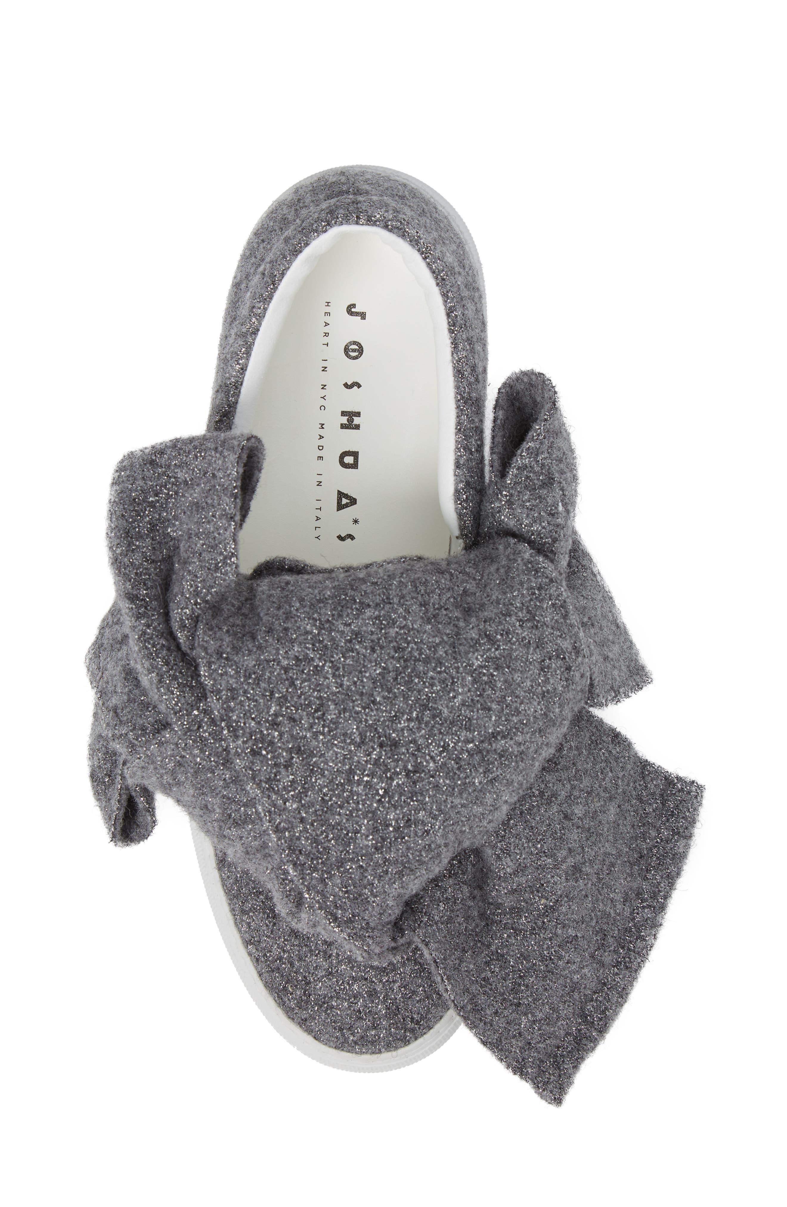 Bow Slip-On Sneaker,                             Alternate thumbnail 5, color,                             Grey Lurex Felt