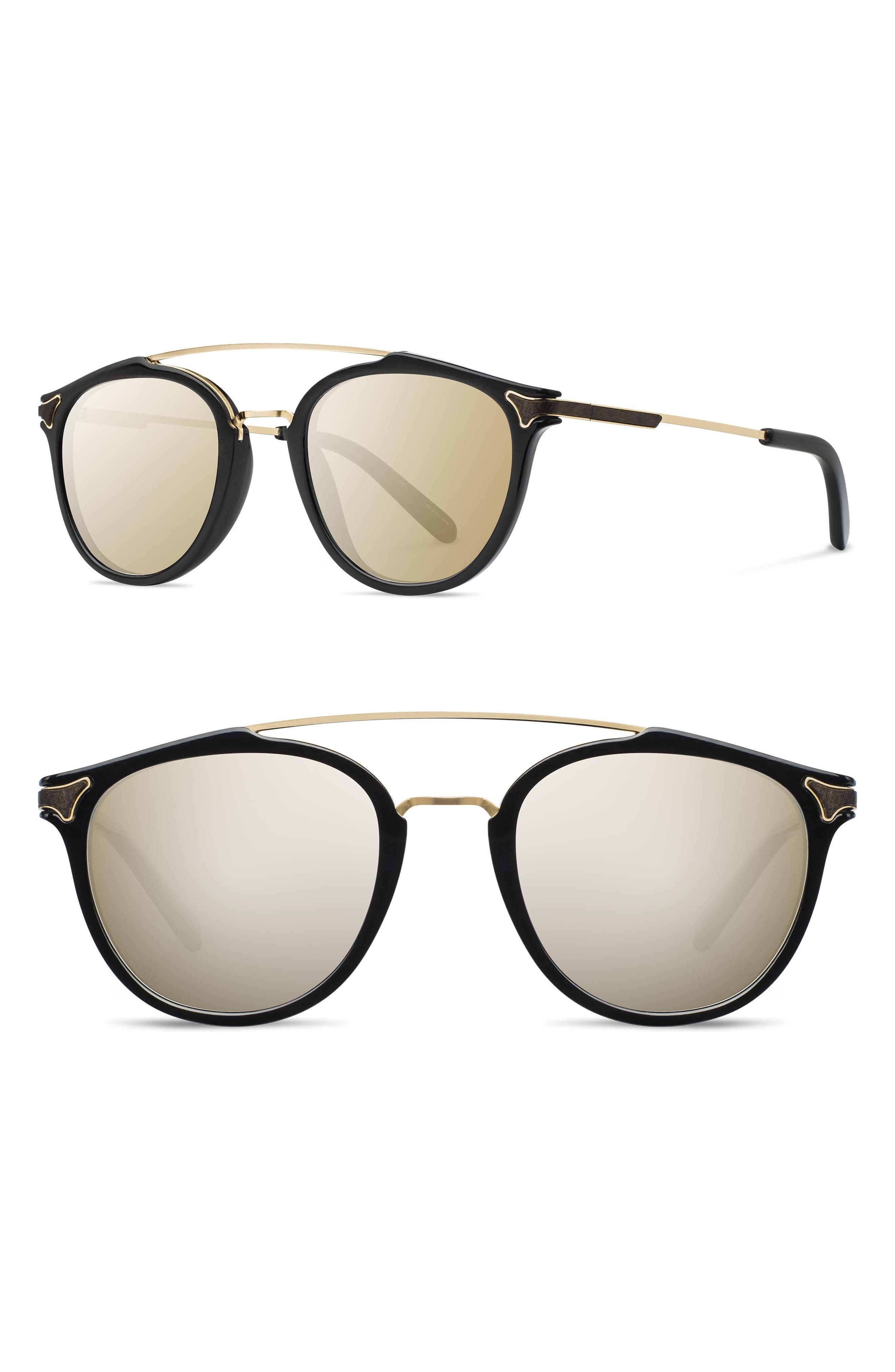 Kinsrow 49mm Acetate & Wood Sunglasses,                         Main,                         color, Black/ Gold Mirror