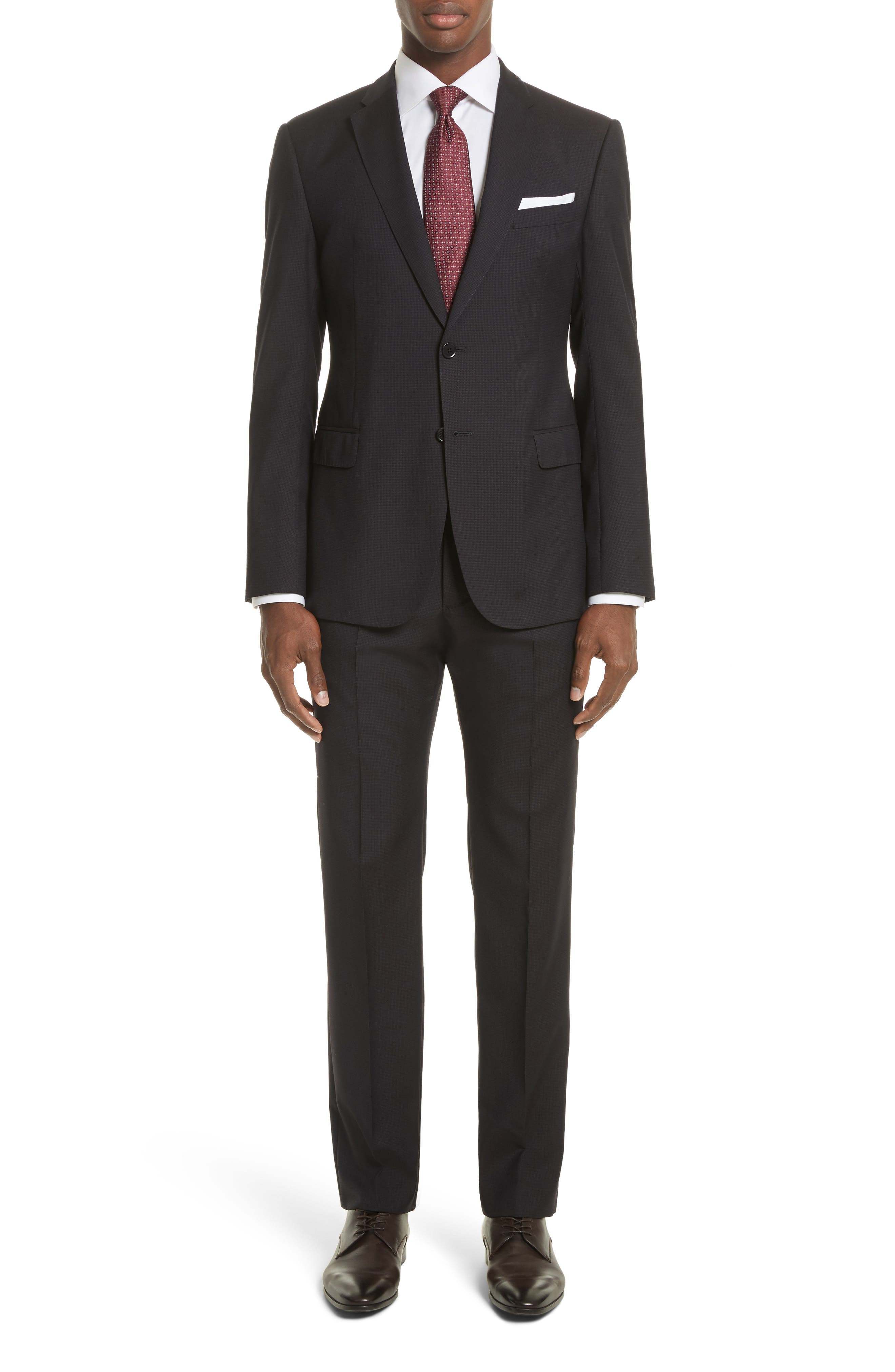 Emporio Armani M-Line Trim Fit Solid Wool Suit,                             Main thumbnail 1, color,                             Solid Dark Red