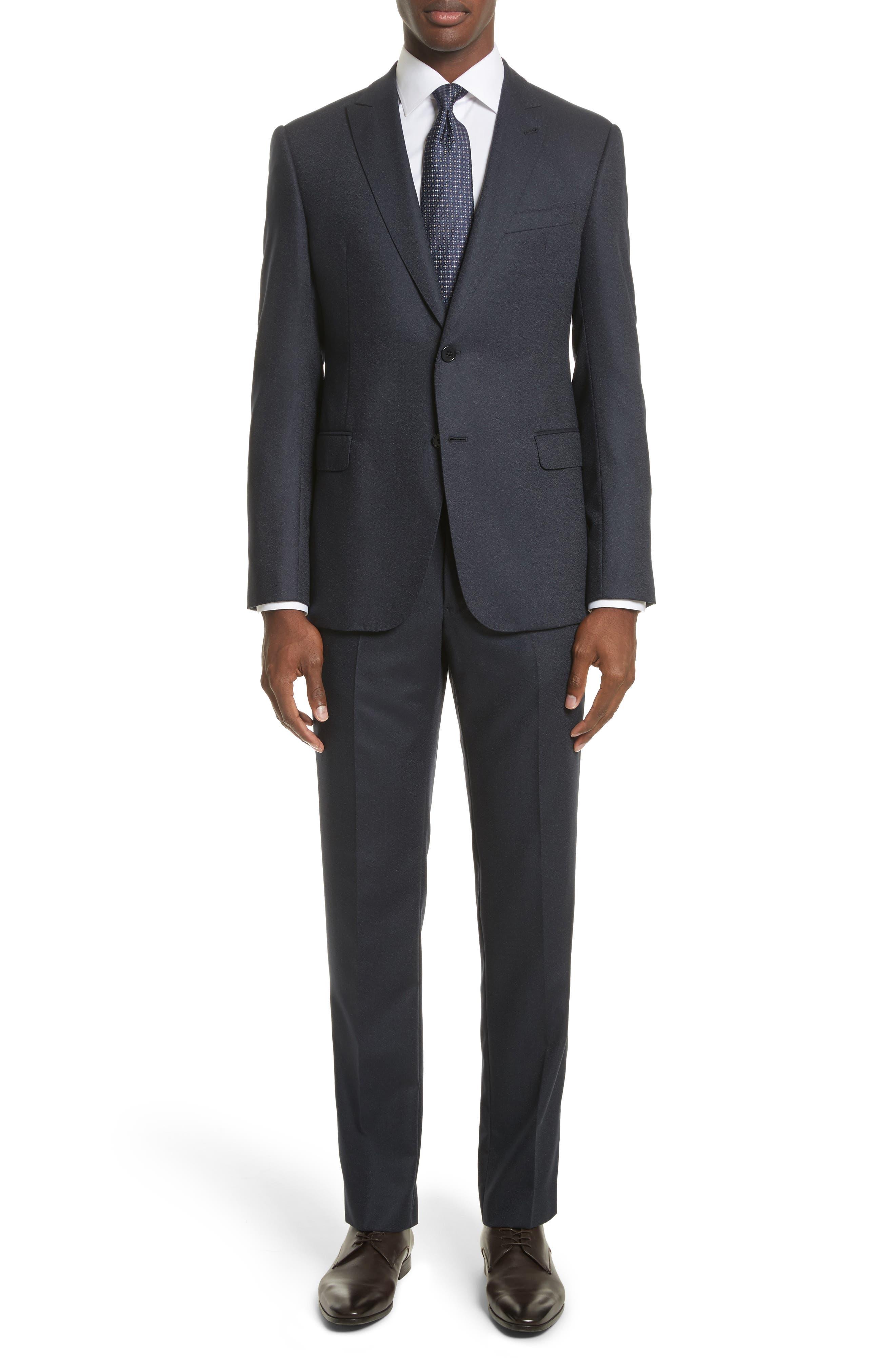 M-Line Trim Fit Solid Wool Blend Suit,                         Main,                         color, Navy