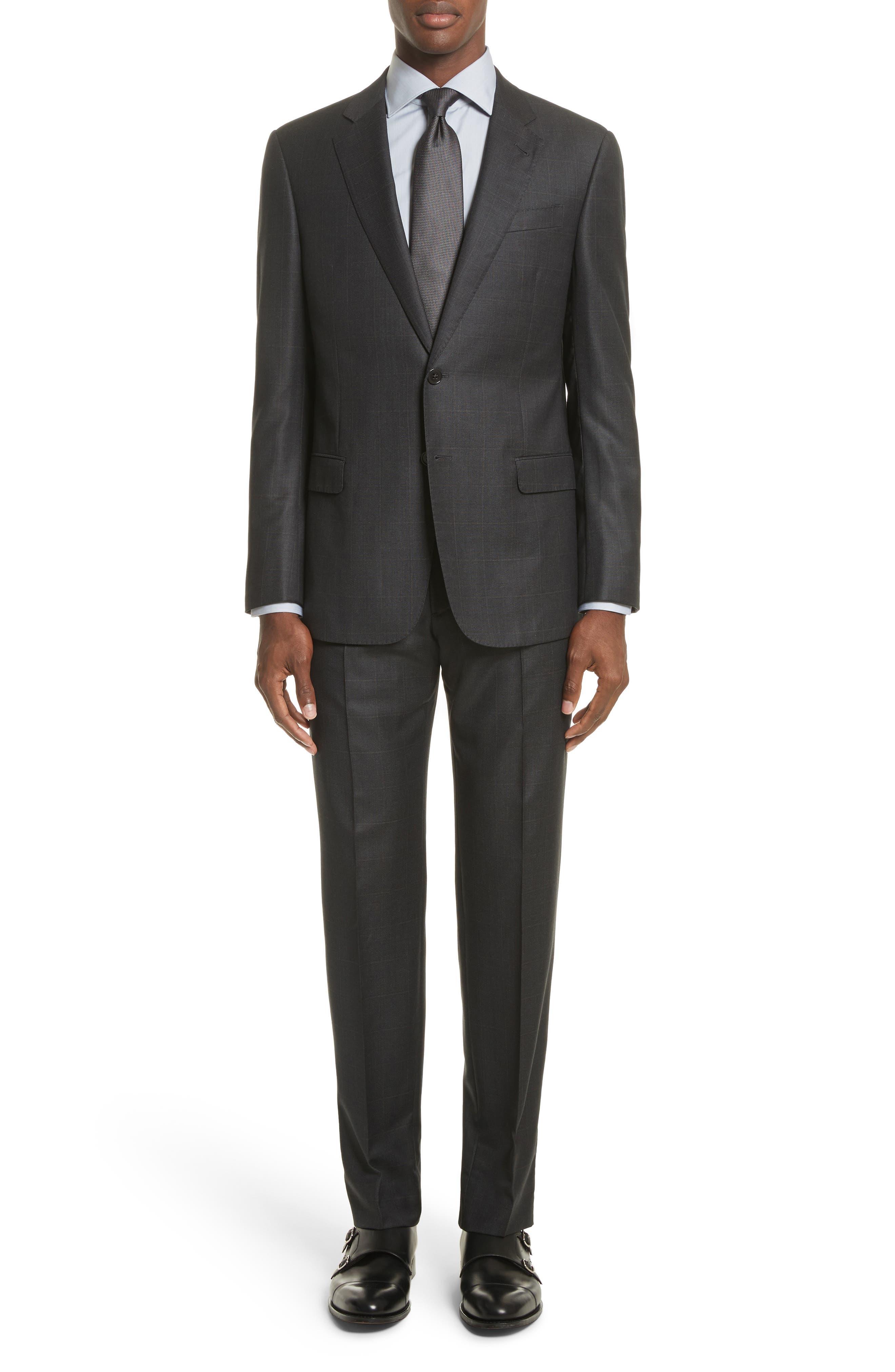 G-Line Trim Fit Windowpane Wool Suit,                         Main,                         color, Solid Light/ Pastel Grey