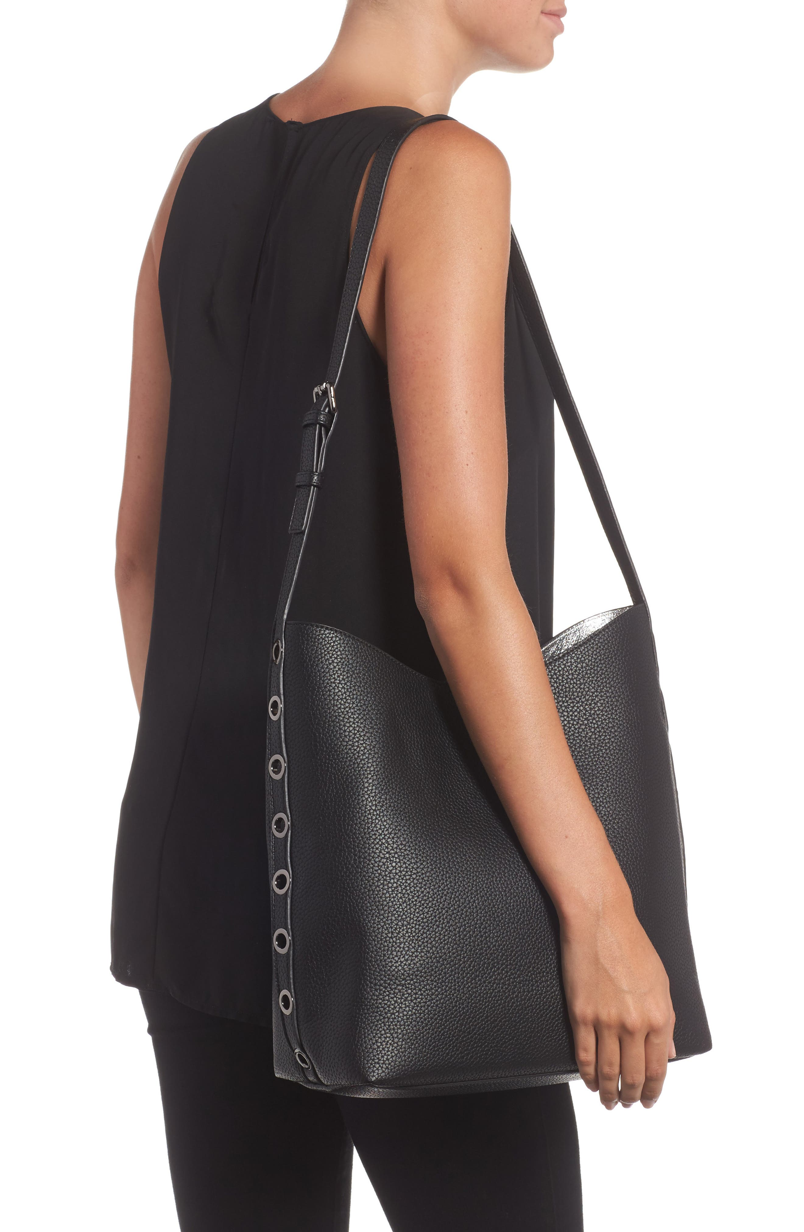 Samara Faux Leather Shoulder Bag,                             Alternate thumbnail 6, color,                             Black