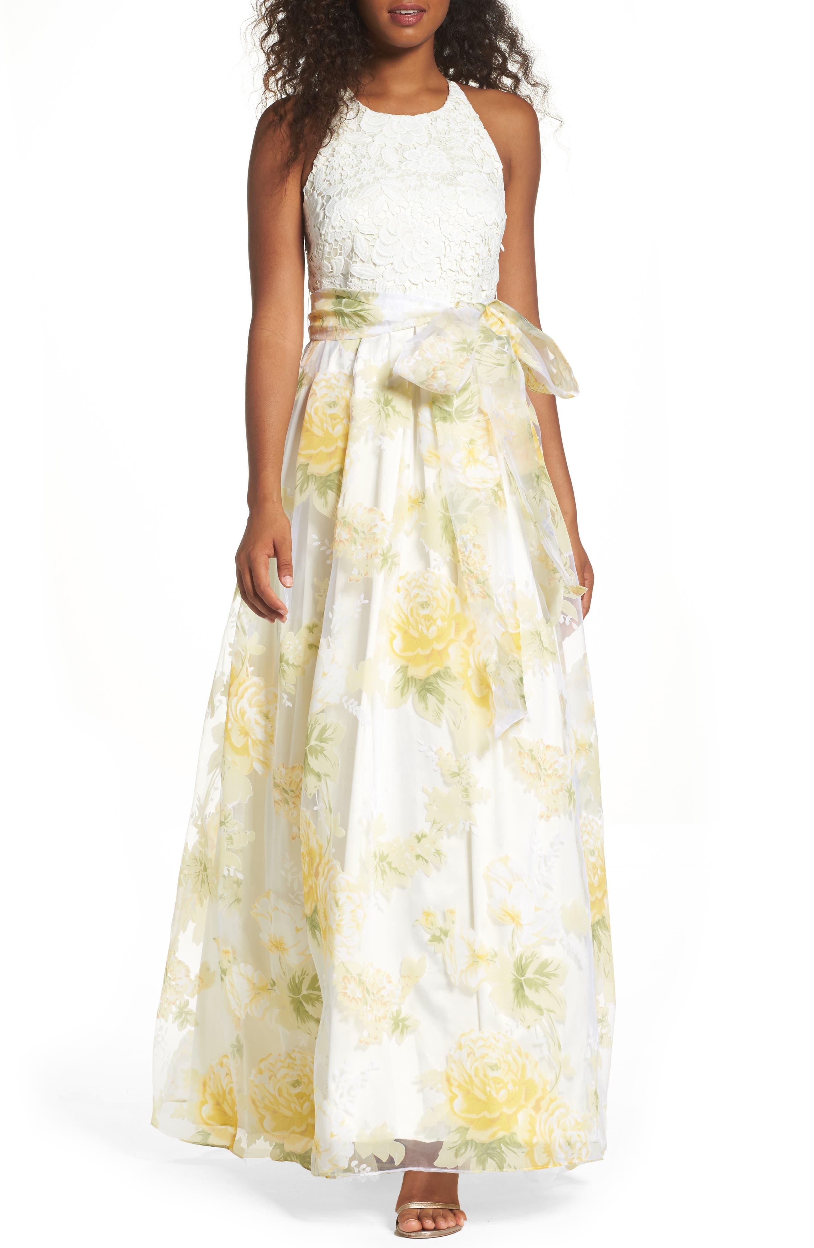 Main Image - Eliza J Crochet & Floral Organza Halter Gown