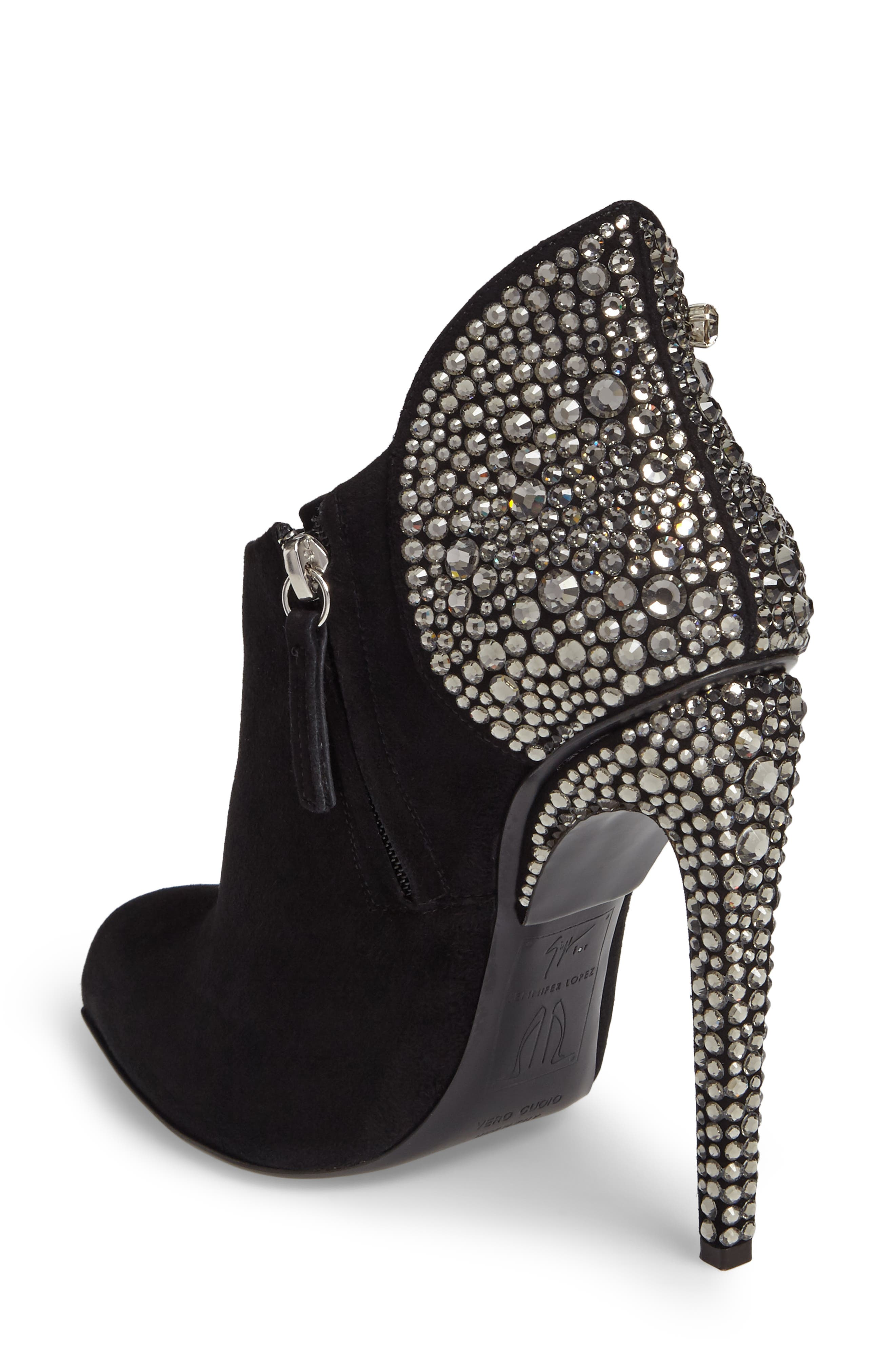 Giuseppe for Jennifer Lopez Crystal Heel Bootie,                             Alternate thumbnail 2, color,                             Black
